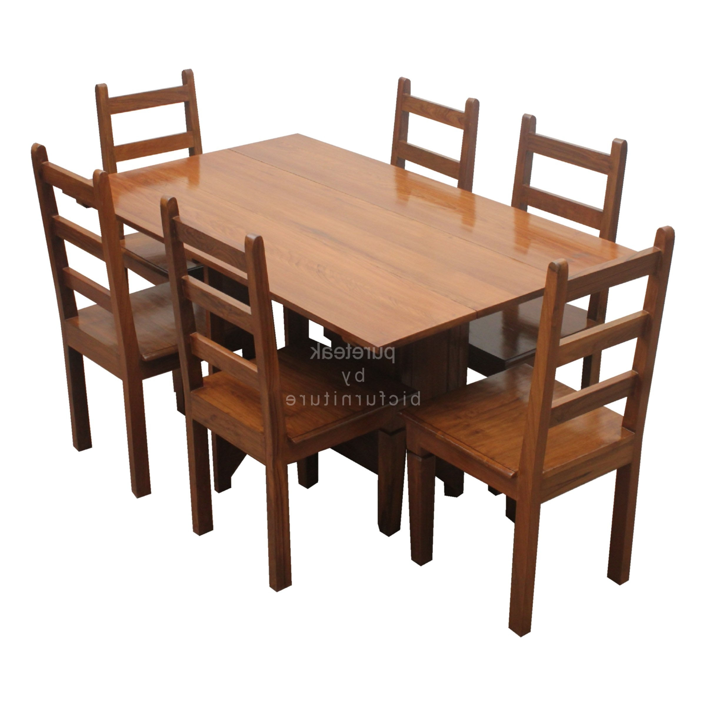 Best And Newest Six Seater Dinning Table Set In Teak Wood (Twd 14) Details (View 8 of 25)
