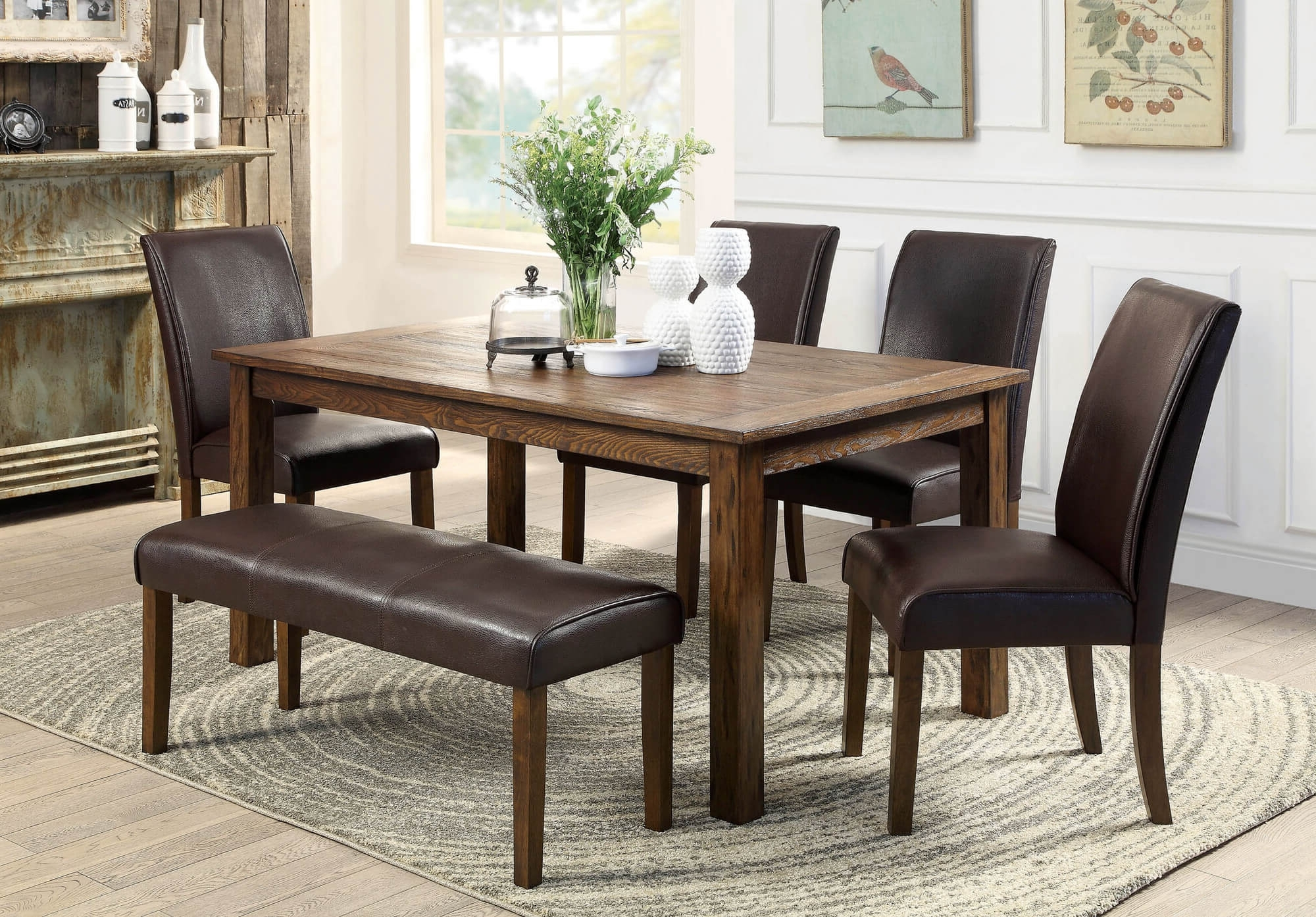 Best And Newest Small Dining Tables And Bench Sets Inside 26 Dining Room Sets (Big And Small) With Bench Seating (2018) (View 5 of 25)