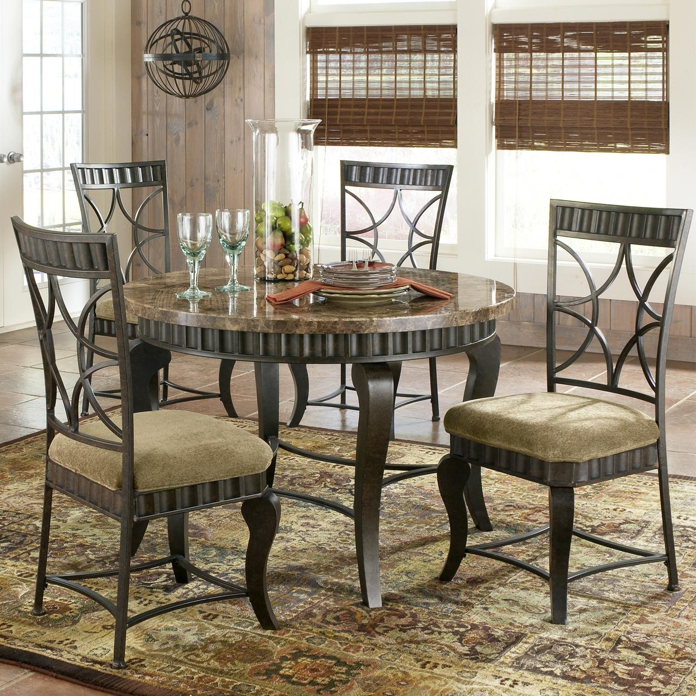 Best And Newest Steve Silver Hamlyn 5 Piece Faux Marble Top Dining Table Set Within Marble Dining Chairs (View 3 of 25)