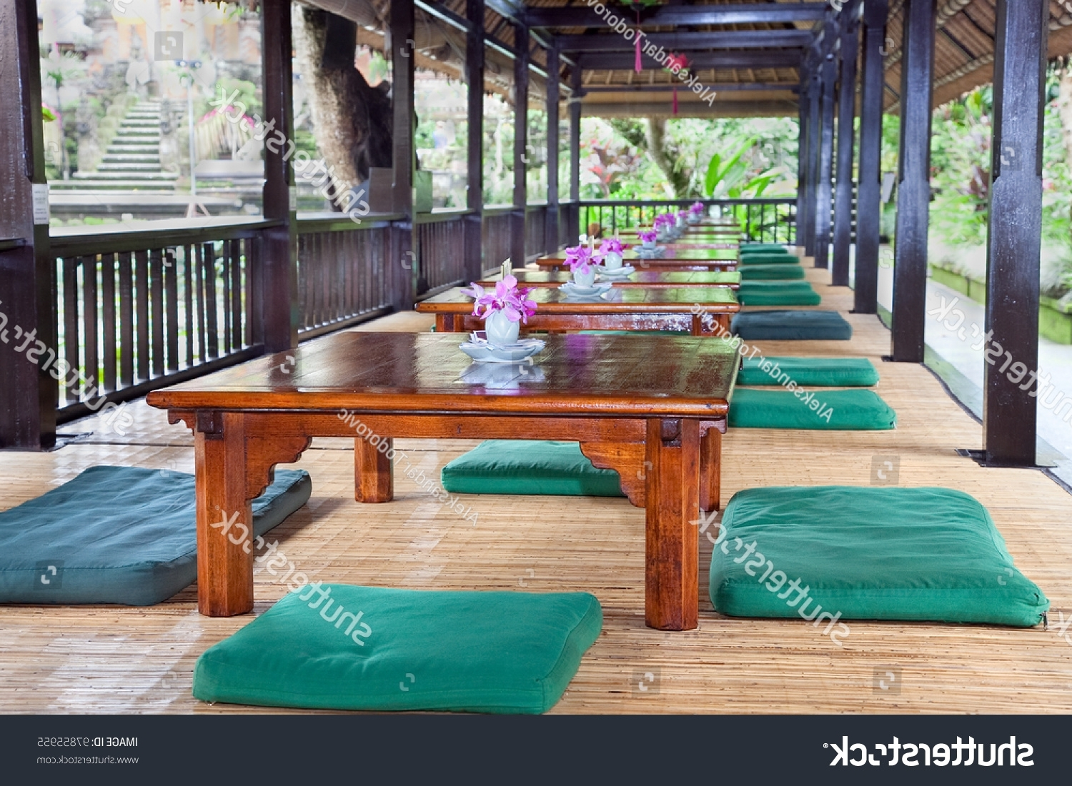 Best And Newest Traditional Low Dining Tables Pillows Ubud Stock Photo (Edit Now Pertaining To Balinese Dining Tables (View 25 of 25)