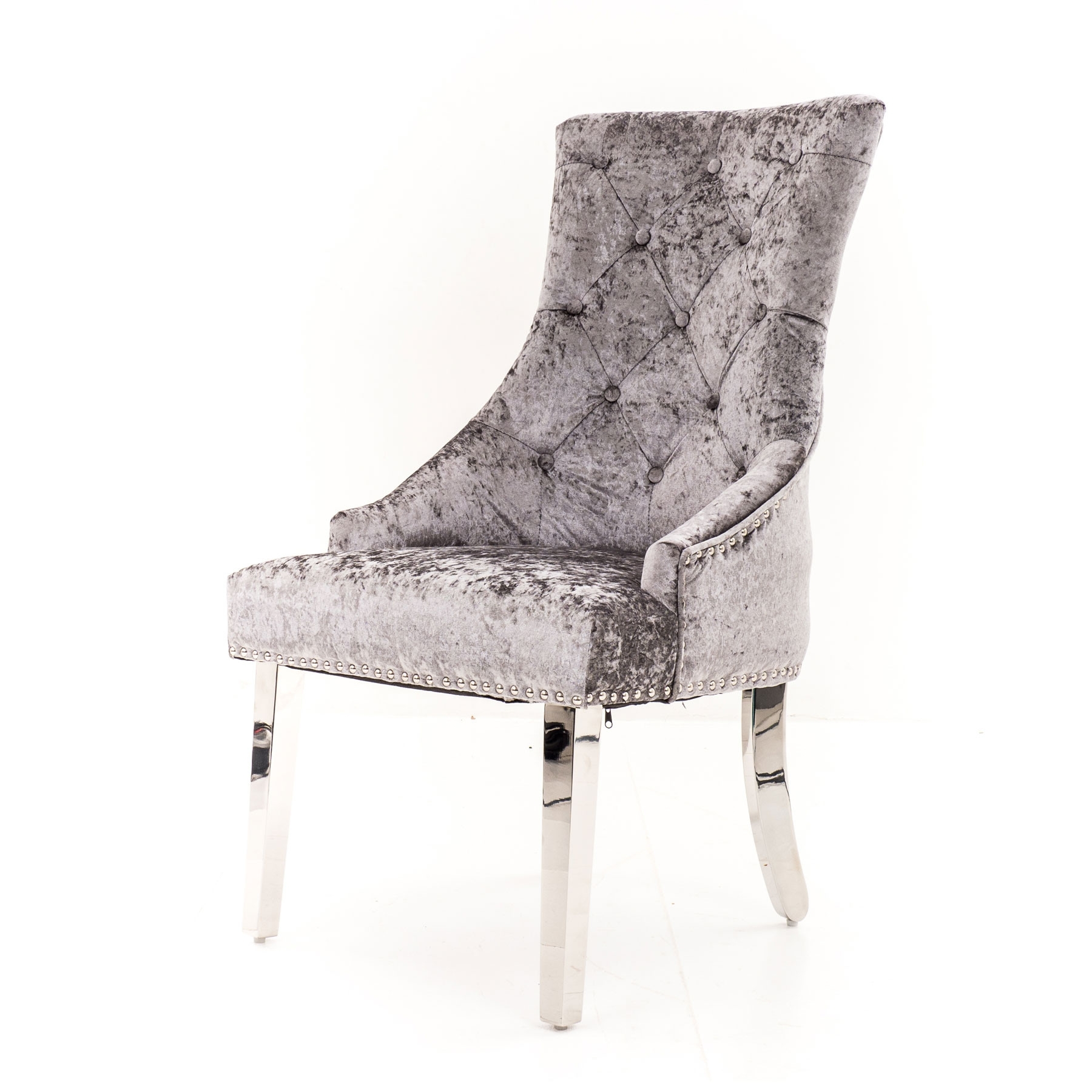 Best And Newest Velvet Dining Chairs Intended For Lyon Silver Velvet Dining Chair With Lion Knocker And Chrome Legs (View 12 of 25)
