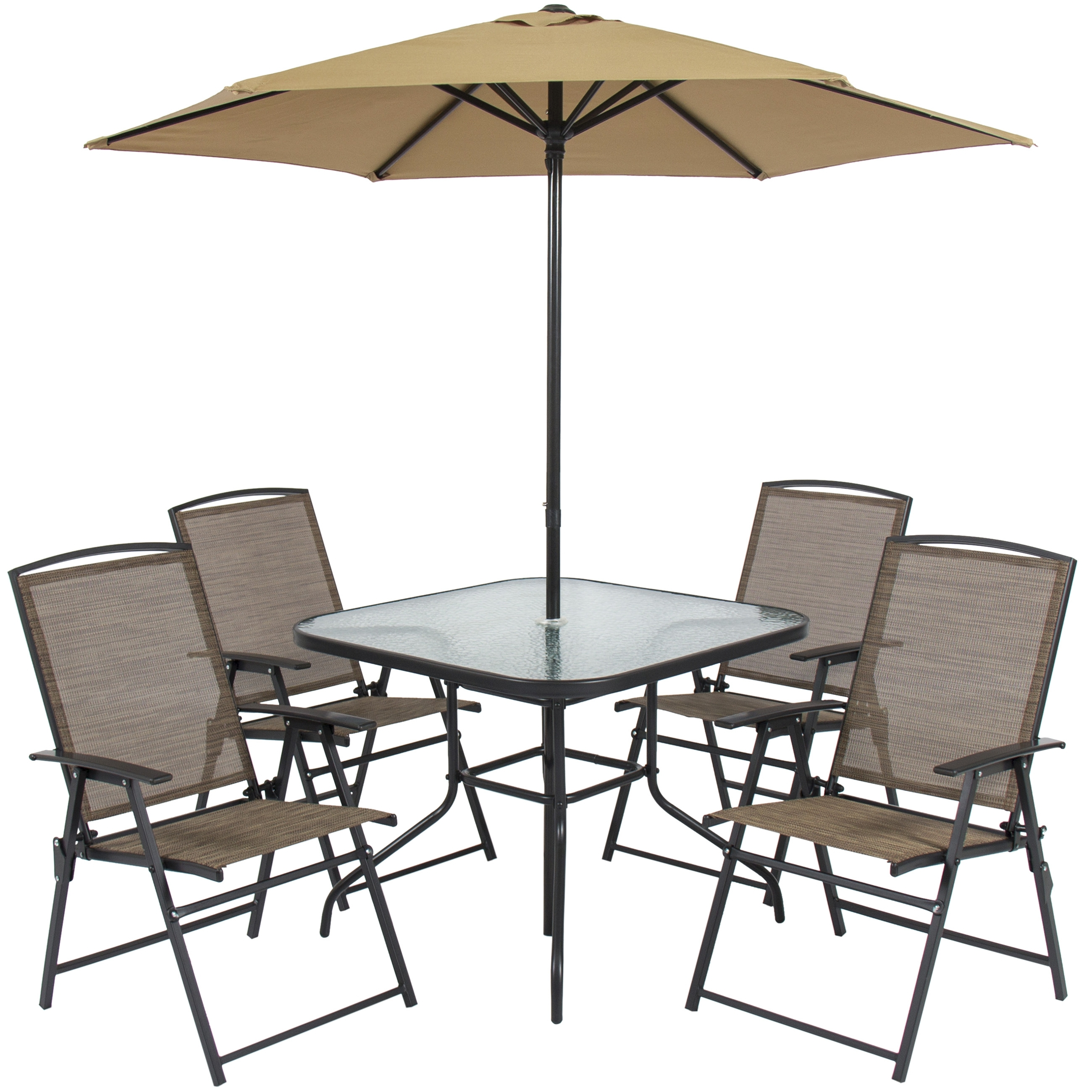 Best Choice Products 6 Piece Outdoor Folding Patio Dining Set W Inside Trendy 8 Seat Outdoor Dining Tables (Gallery 13 of 25)