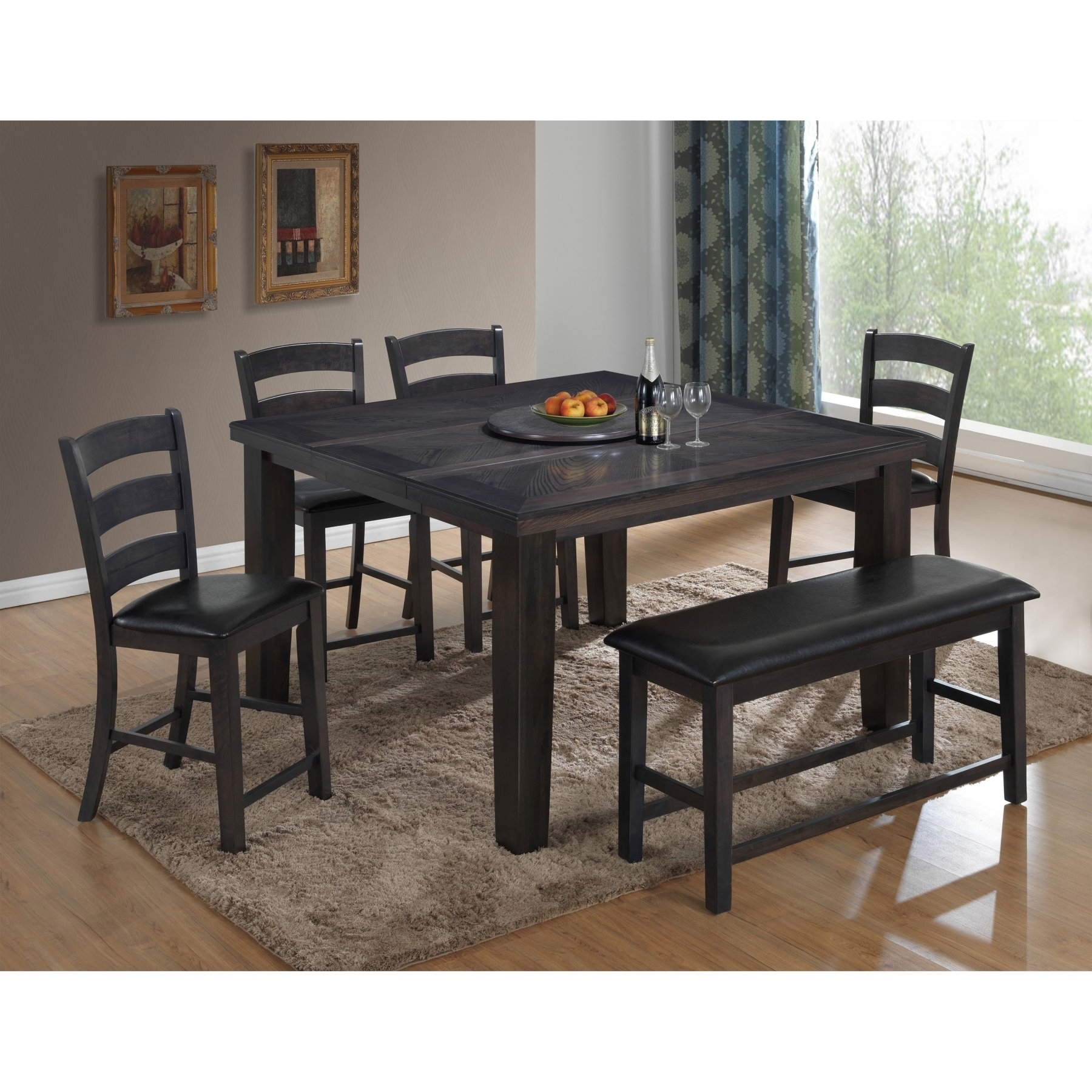 Best Master Furniture Carol Rectangular 6 Piece Counter Height Within Well Liked Craftsman 7 Piece Rectangle Extension Dining Sets With Side Chairs (View 4 of 25)