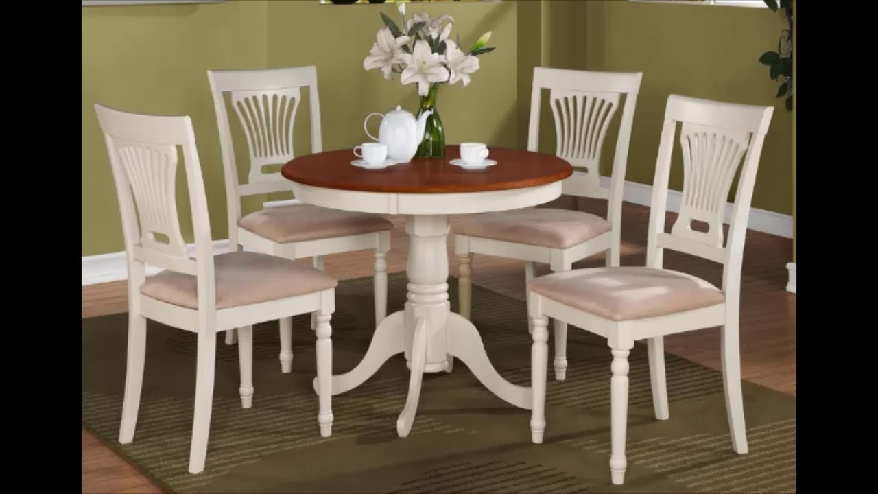 Best Small Round Kitchen Table With 4 Chairs From $263 Inside Widely Used Small Round Dining Table With 4 Chairs (View 4 of 25)