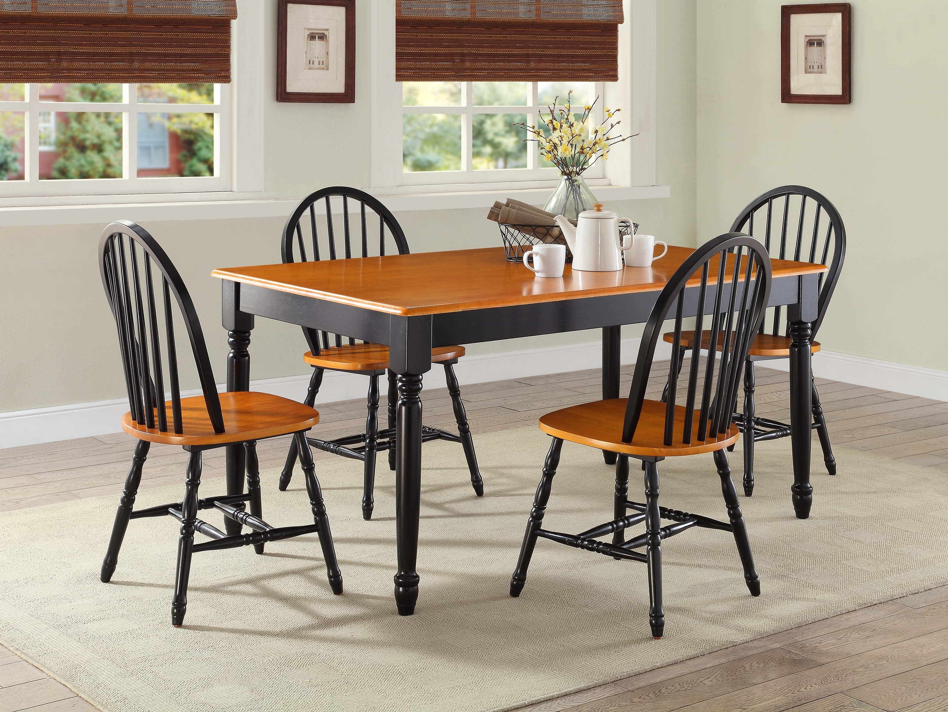Better Homes And Gardens Autumn Lane Farmhouse Dining Table, Black Regarding Favorite Oak Dining Sets (Gallery 24 of 25)