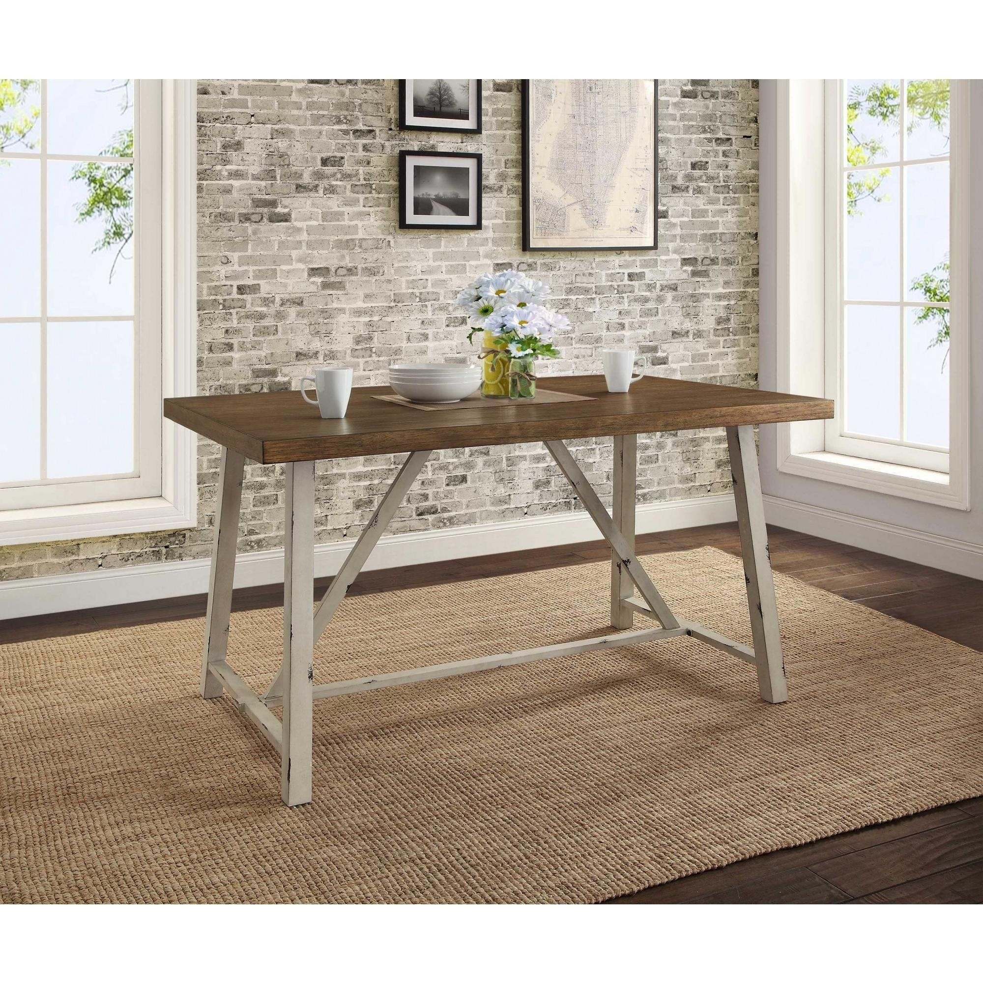 Better Homes & Gardens Collin Wood And Metal Dining Table With Trendy Dining Tables With White Legs And Wooden Top (View 3 of 25)
