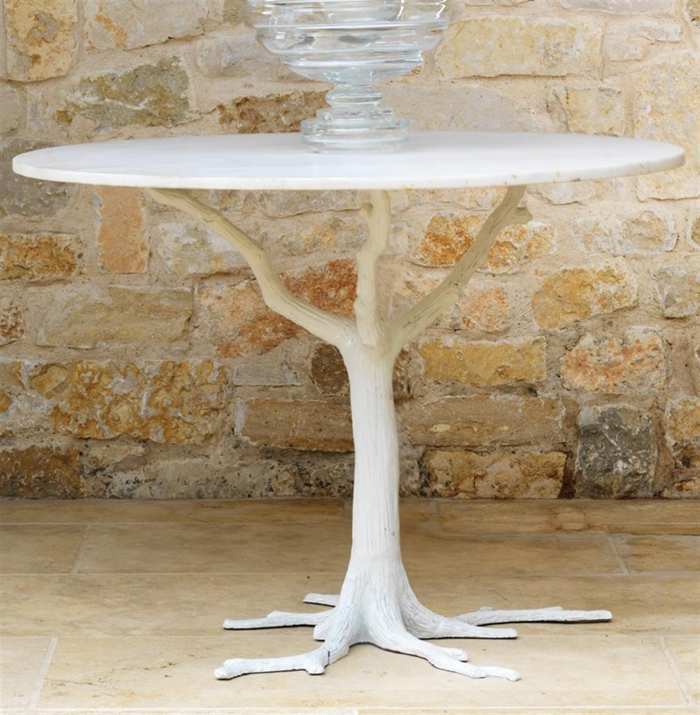 Bijou Global Bazaar White Tree Branch Iron Marble Petite Dining Table Intended For Fashionable Tree Dining Tables (Gallery 16 of 25)