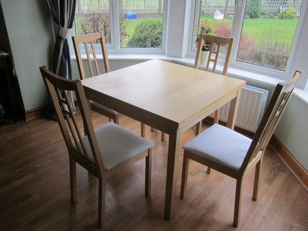 Birch Dining Tables Throughout Well Liked Extending Dining Table & 4 Chairs Ikea Birch + Spare Seat Covers (Gallery 11 of 25)