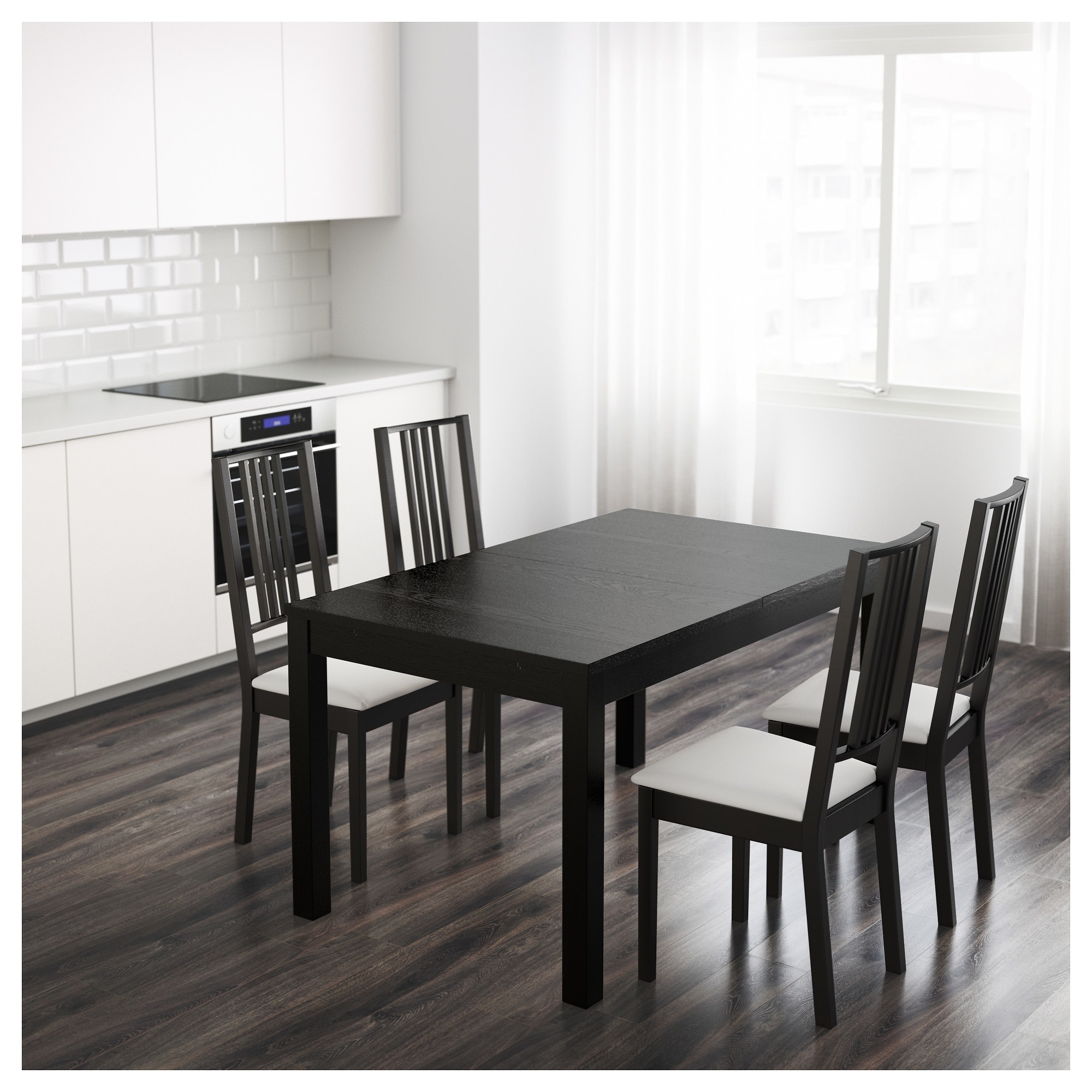 Bjursta Extendable Table Brown Black 140/180/220 X 84 Cm – Ikea Pertaining To Preferred Black Extendable Dining Tables And Chairs (View 15 of 25)