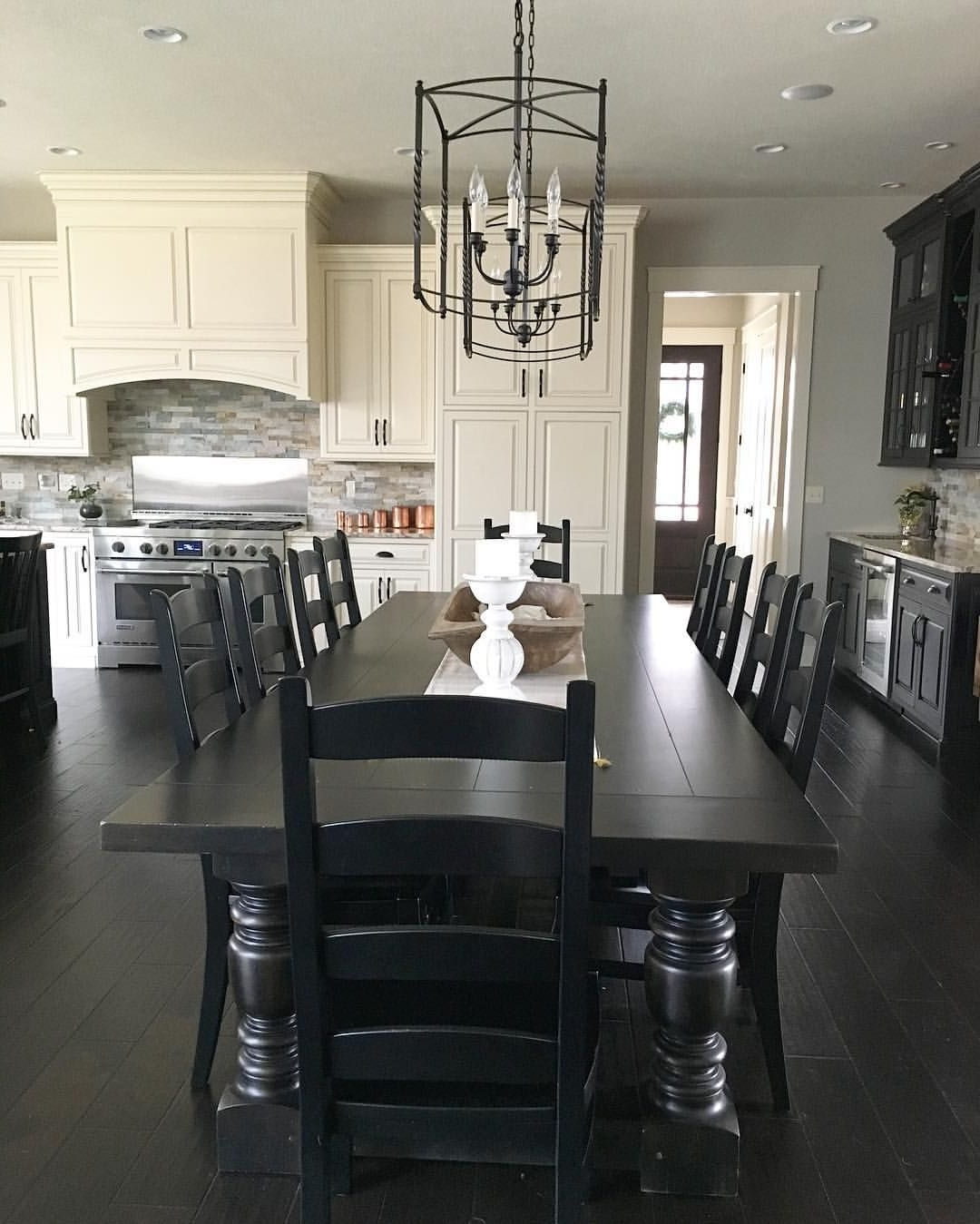 Black And White Modern Farmhouse Kitchen With Long Dining Table Intended For Preferred Black Dining Tables (View 19 of 25)