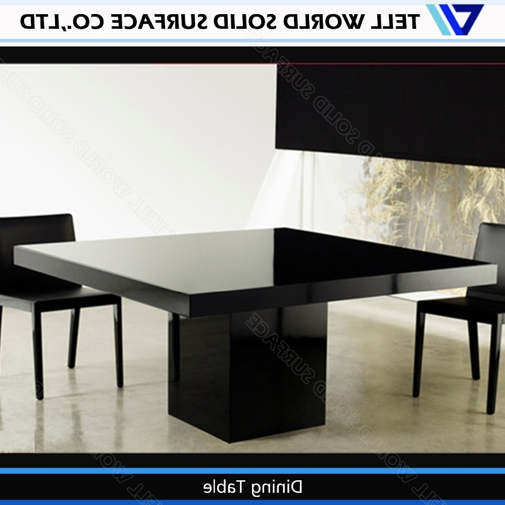 Black Chairs White Artificial Stone Table Modern 8 Seater Dining Inside 2018 Black 8 Seater Dining Tables (View 13 of 25)