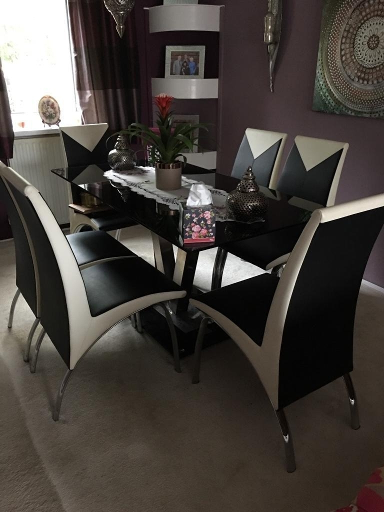 Black Chrome & Cream Dining Table & 6 Chairs (View 3 of 25)