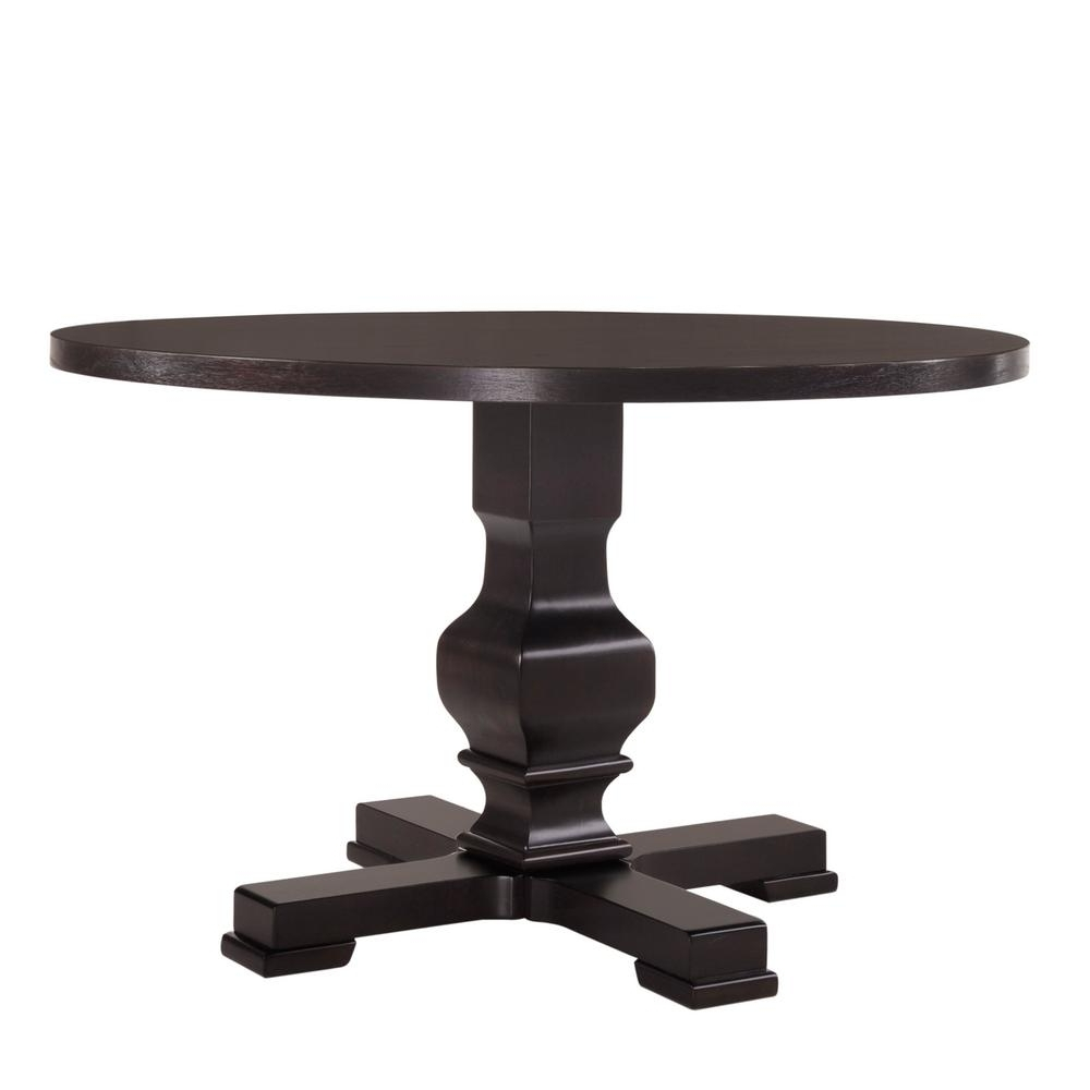 Black Circular Dining Tables With Regard To Most Recently Released Carolina Cottage Carson 47 In. Espresso Round Pedestal Dining Table (Gallery 23 of 25)