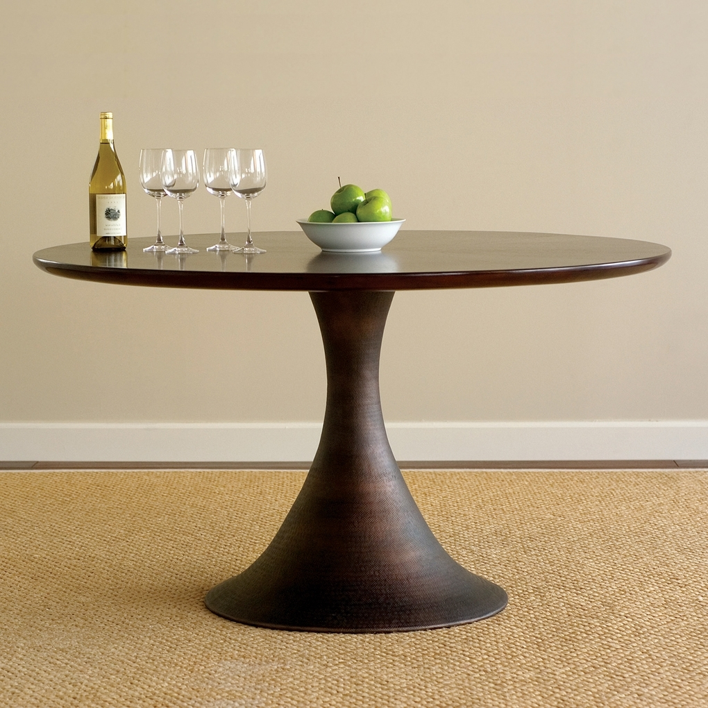 Black Circular Dining Tables With Well Known Casablanca Round Dining Table Dark Walnut Brown (View 12 of 25)