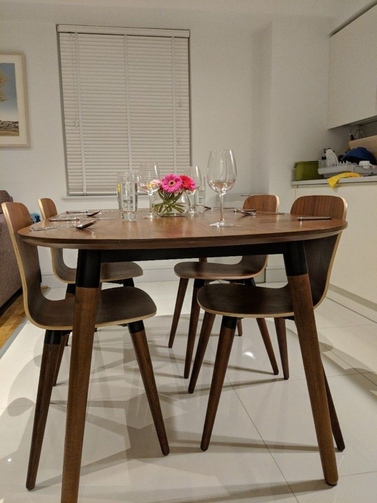 Black Extendable Dining Tables And Chairs In Latest Edelweiss Walnut & Black Extendable Dining Table And Chairs From (View 19 of 25)