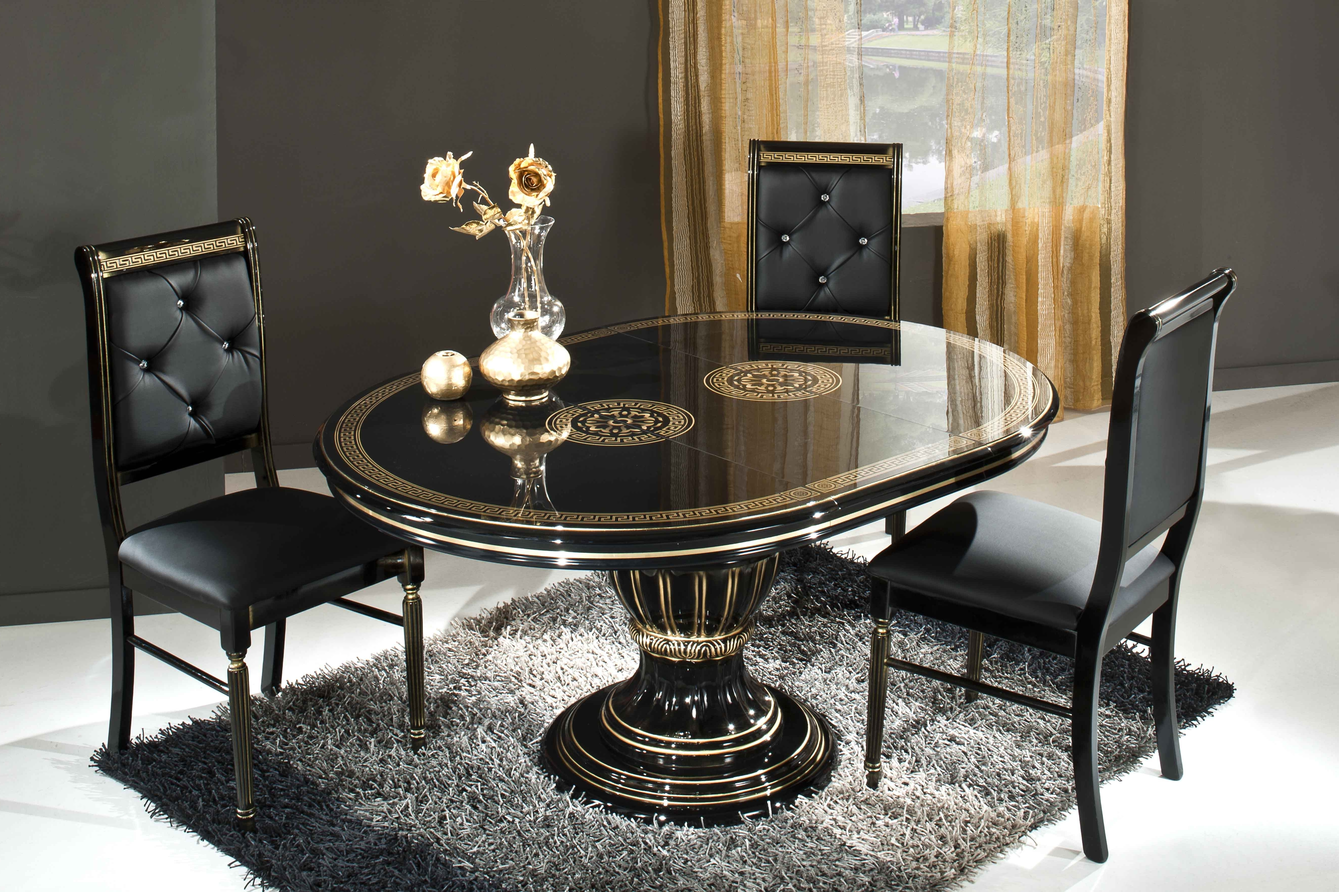 Black Extendable Dining Tables And Chairs Inside Most Recently Released Rosella Black Extending Dining Table With Chairs – Modish Furnishing (View 2 of 25)
