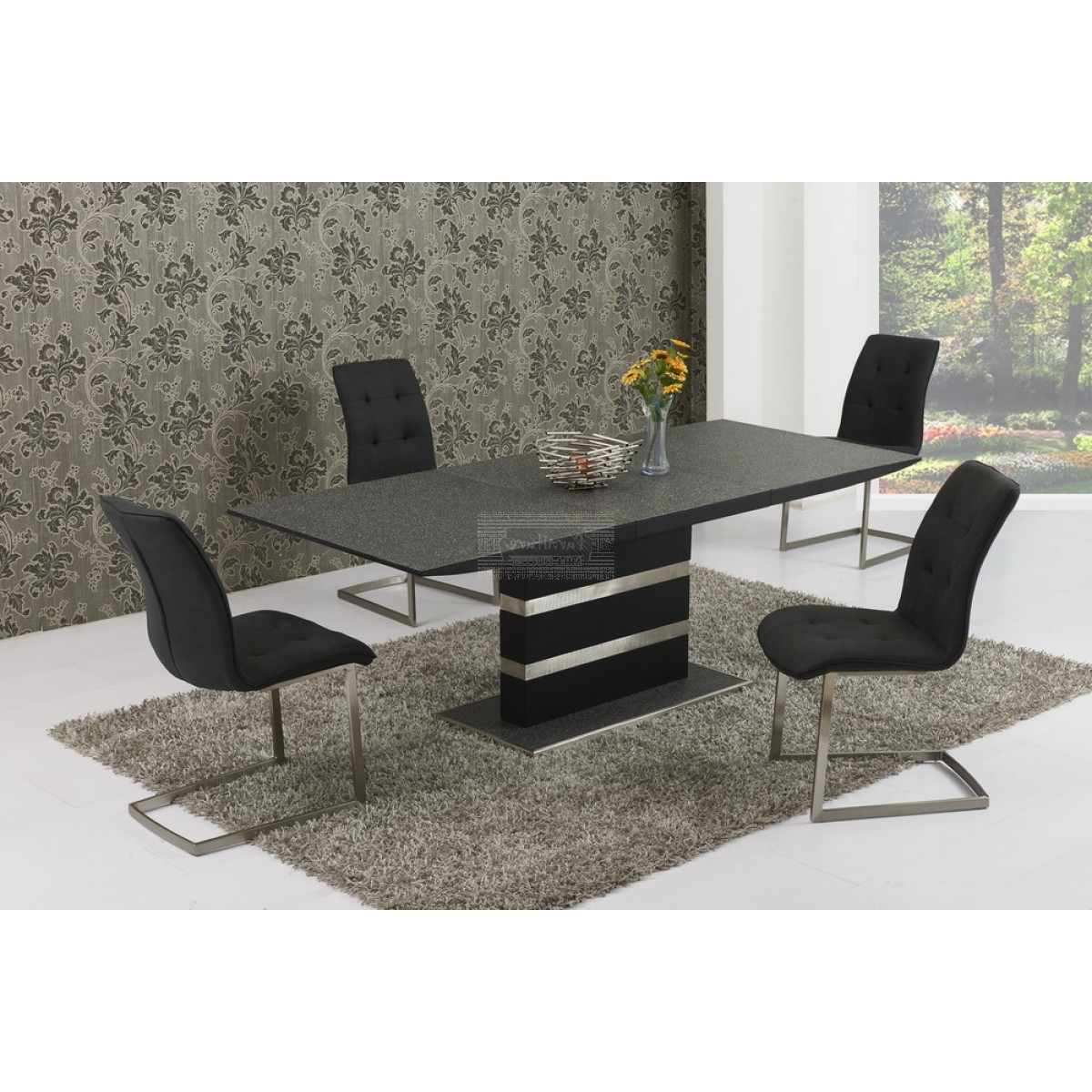 Black Extendable Dining Tables And Chairs Within Recent Alessandro Black Stone Effect Extending Dining Table 160/ (View 4 of 25)
