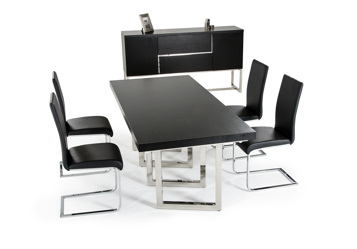 Black Extendable Dining Tables Sets Intended For Trendy The Modrest Drexler Modern Black Extendable Dining Table Review (Gallery 24 of 25)