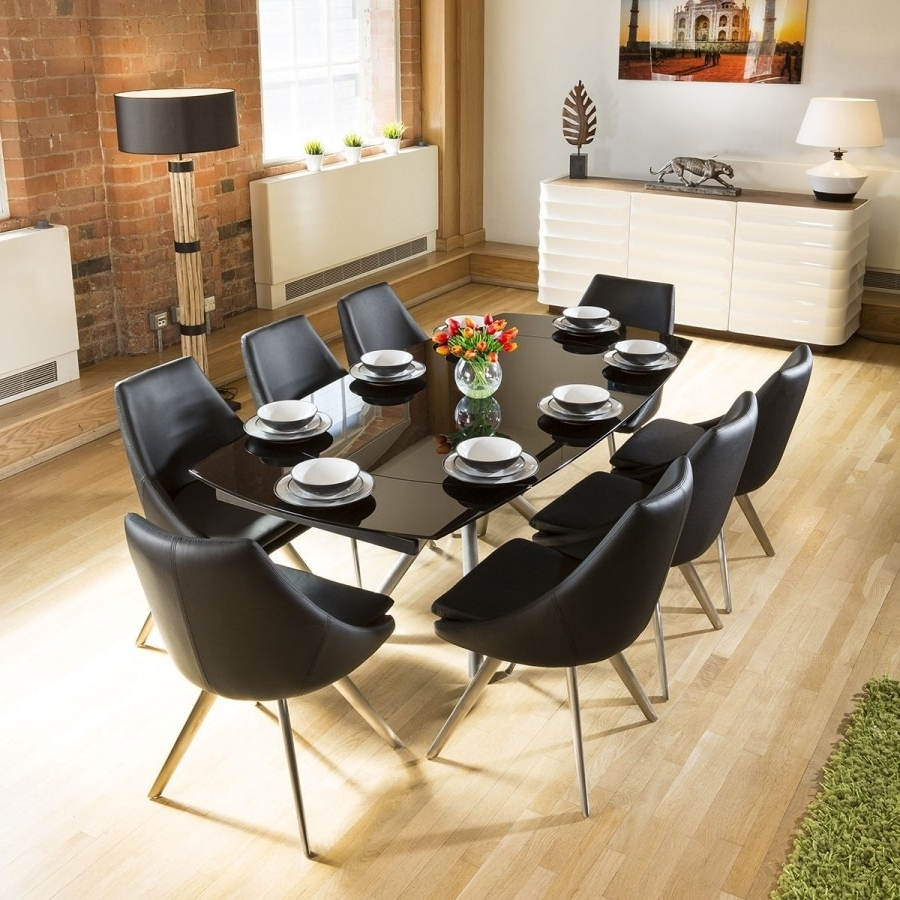 Black Extending Dining Tables For Famous Quatropi Black Glass Extending Dining Table + 8 Black Modern Chairs (Gallery 20 of 25)