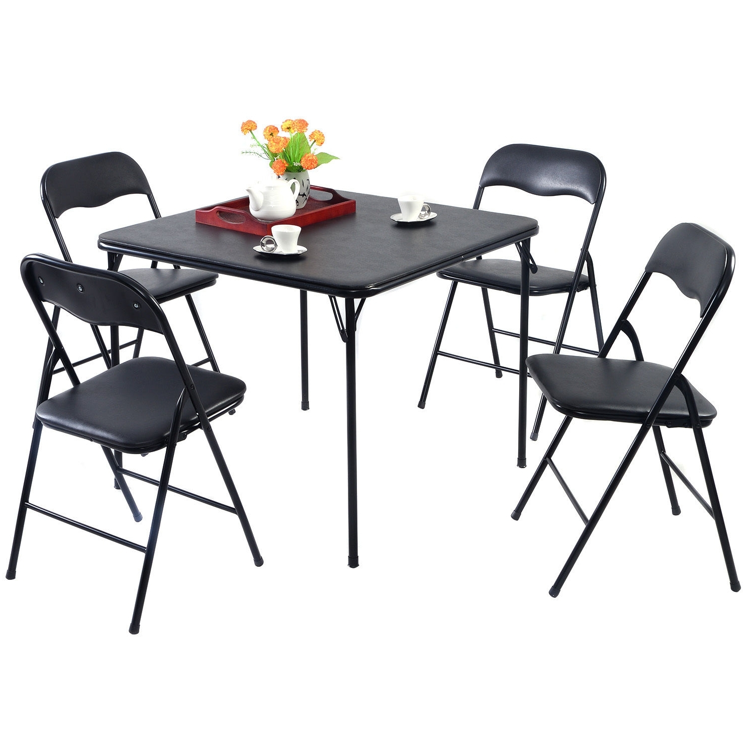 Black Folding Dining Tables And Chairs With Favorite Goplus 5Pc Black Folding Table Chair Set Guest Games Dining Room (Gallery 20 of 25)