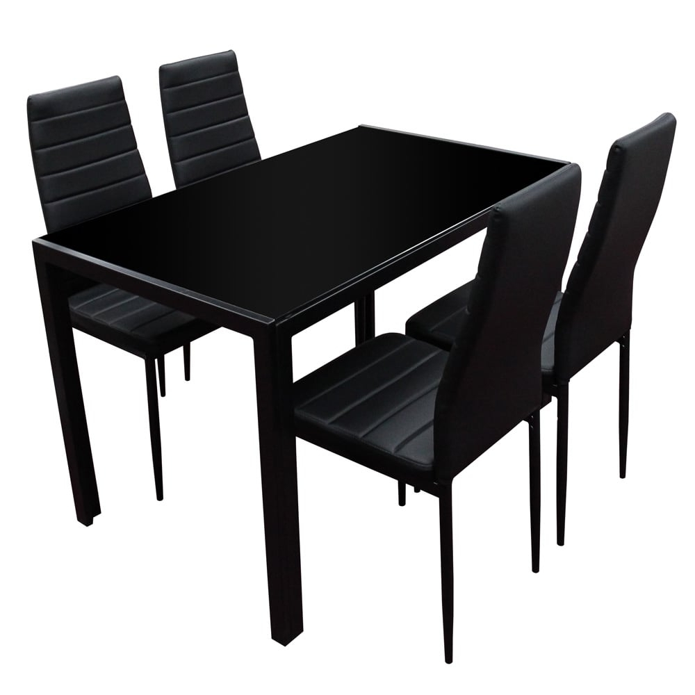 Black Glass Dining Table & Chairs (View 4 of 25)