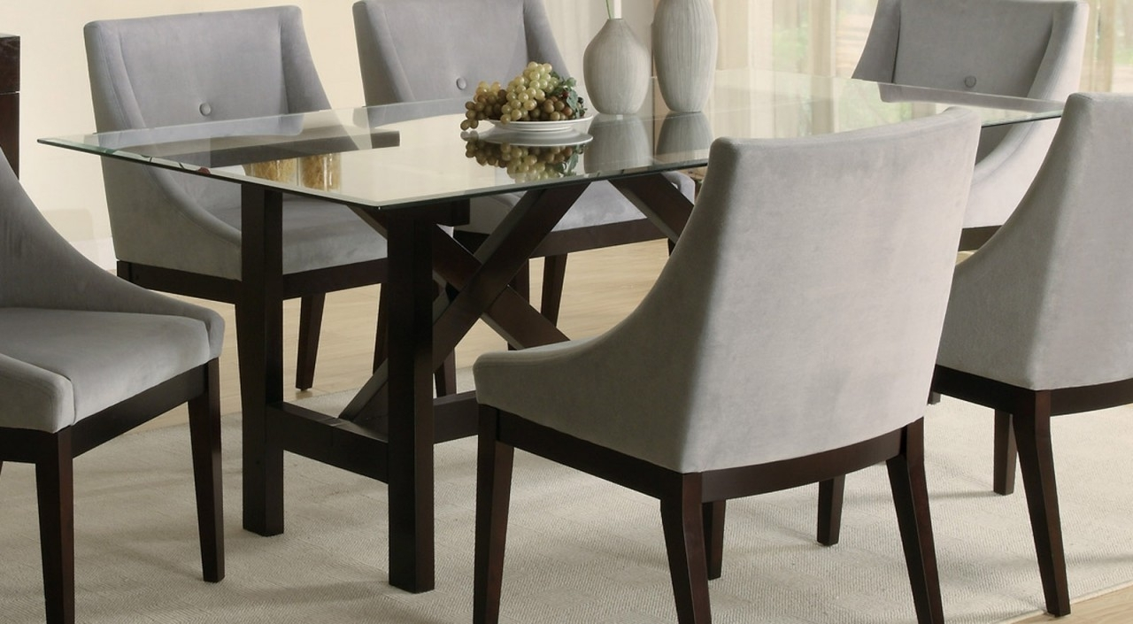 Black Glass Dining Tables 6 Chairs Intended For 2018 Dining Room: Best Glass Dining Room Sets Glass Dining Room Sets (Gallery 15 of 25)