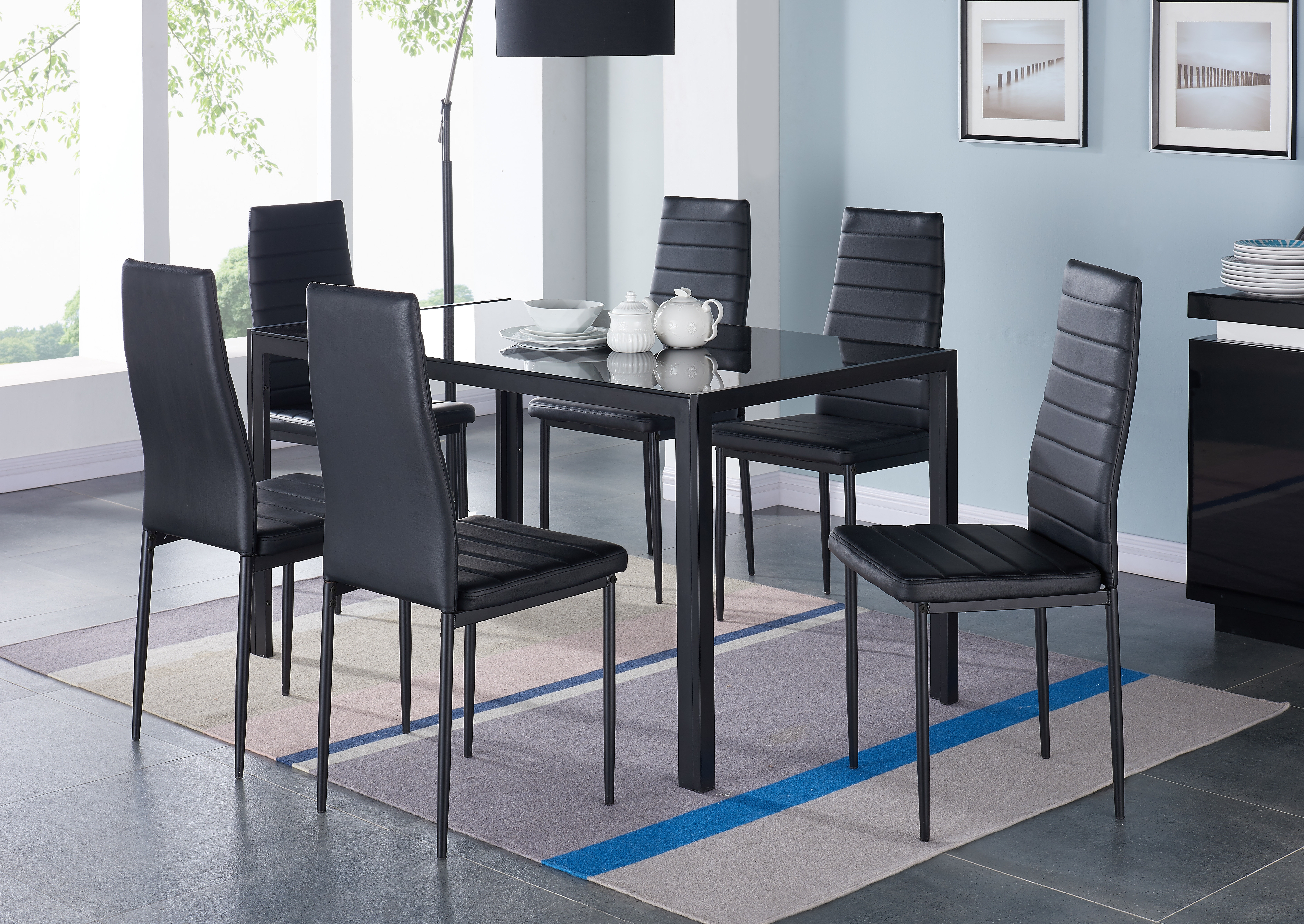 Black Glass Dining Tables 6 Chairs Pertaining To Well Known Orren Ellis Umber Glass Dining Table Set With 6 Chairs (Gallery 19 of 25)