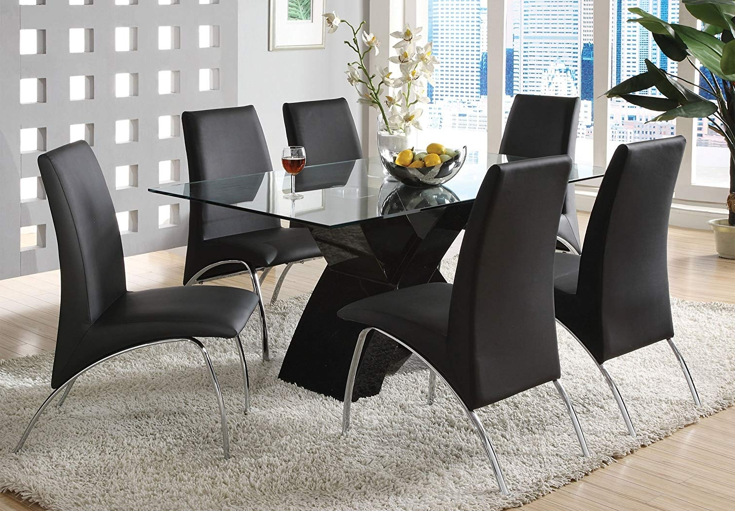Black Glass Dining Tables 6 Chairs Pertaining To Widely Used Amazon: Furniture Of America Rivendale 7 Piece Modern Dining (Gallery 21 of 25)