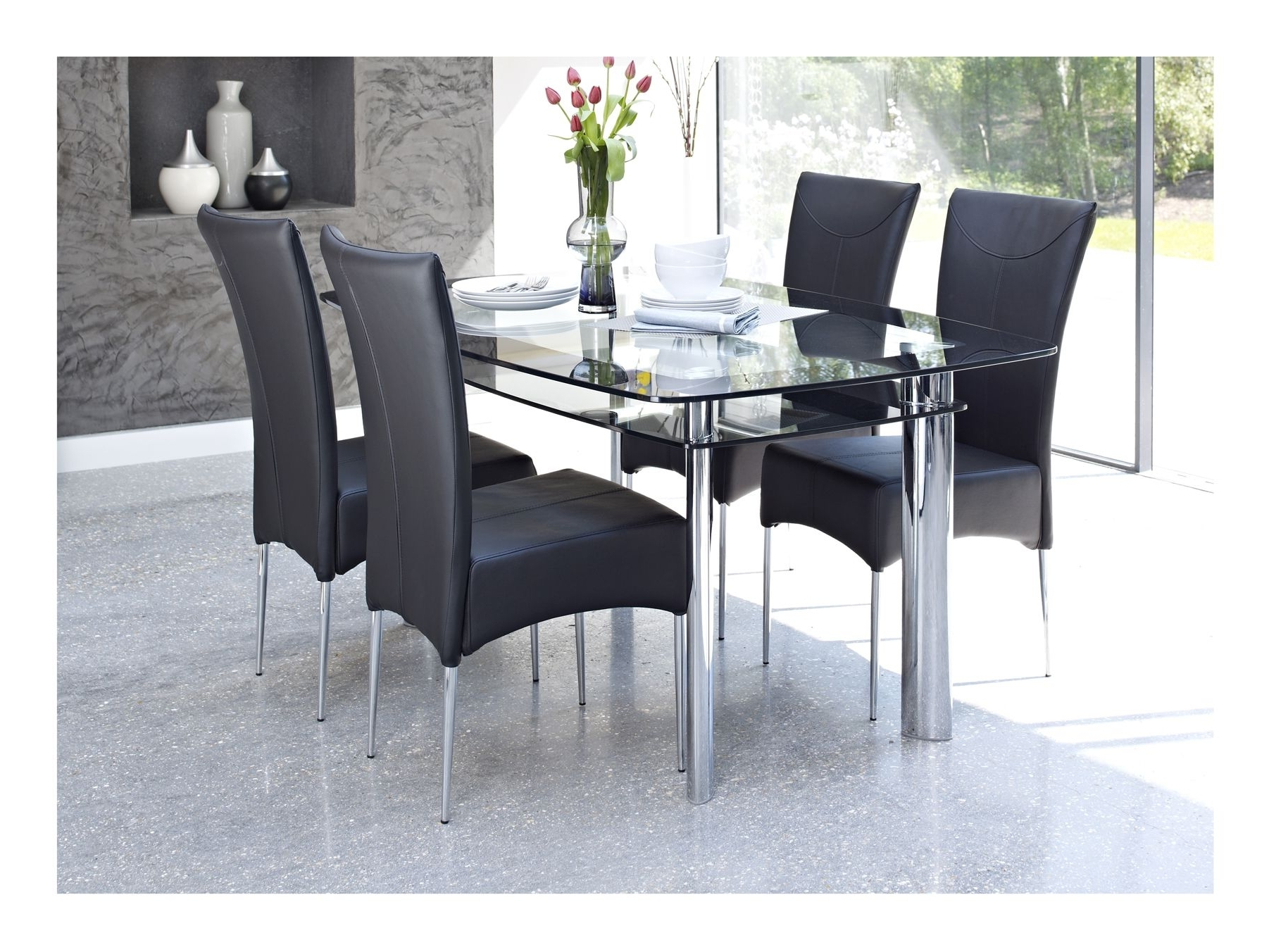 Black Glass Dining Tables And 4 Chairs In Most Recent Delightful Kitchen Black Glass Dining Table And 4 Chairs Room Ideas (View 2 of 25)