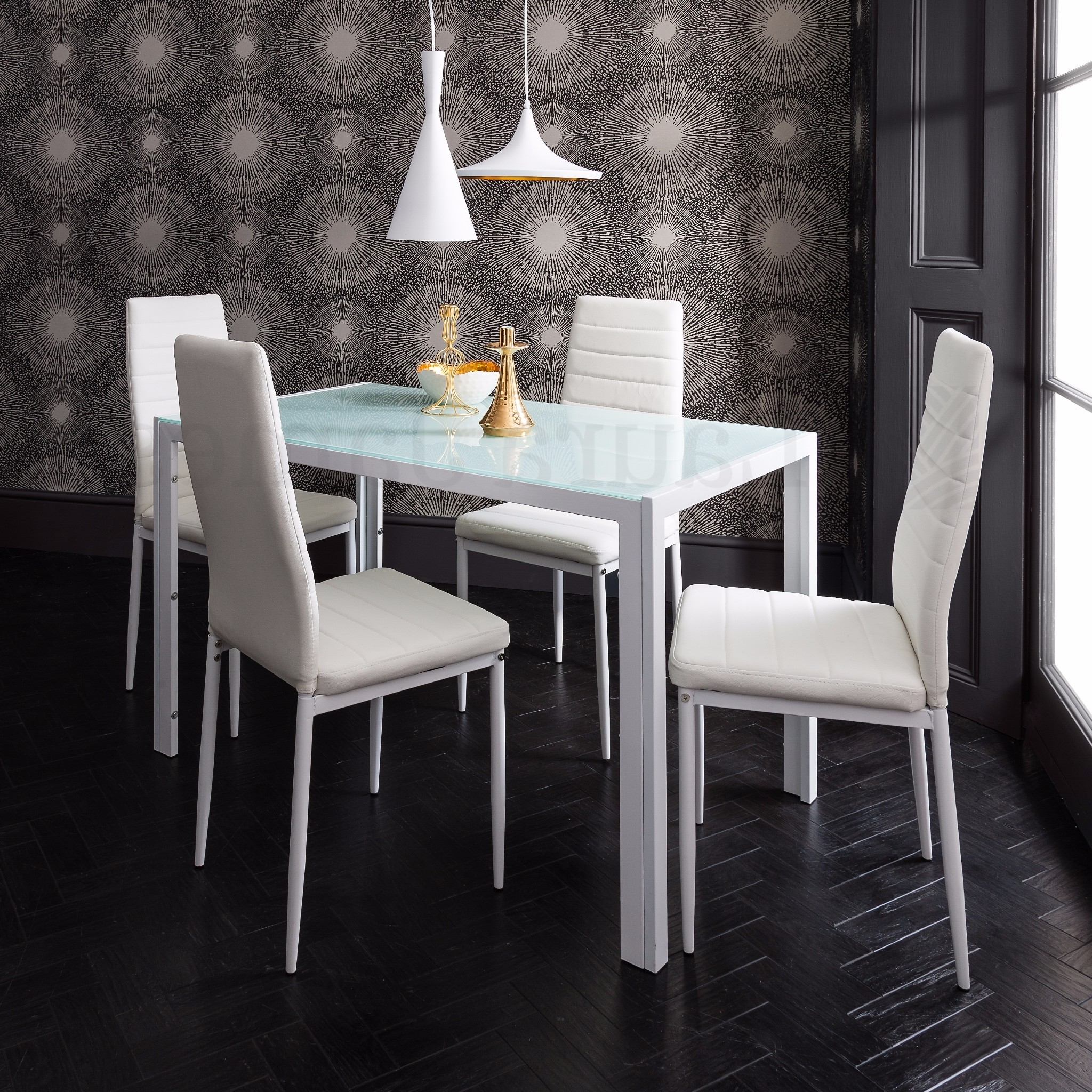 Black Glass Dining Tables And 4 Chairs In Most Up To Date Details About Glass Dining Table And 4 Chairs Set (Gallery 19 of 25)