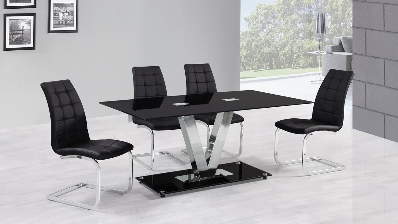 Black Glass Dining Tables Throughout Most Current 6 Seater Black Glass Dining Table And Chairs – Homegenies (Gallery 5 of 25)