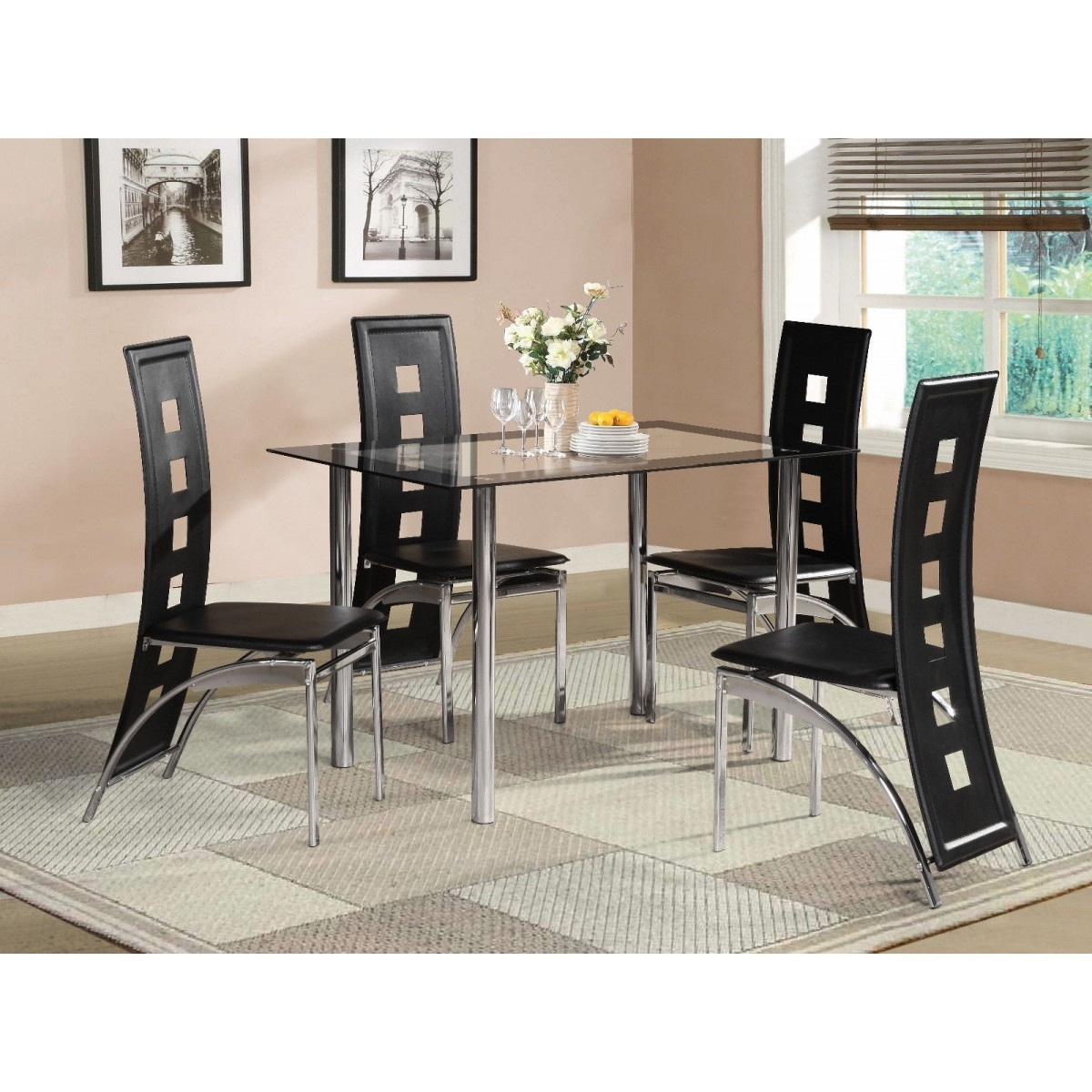 Black Glass Dining Tables With 6 Chairs Inside Favorite Black Glass Dining Room Table Set With 4 Or 6 Chairs – Home Done (View 6 of 25)