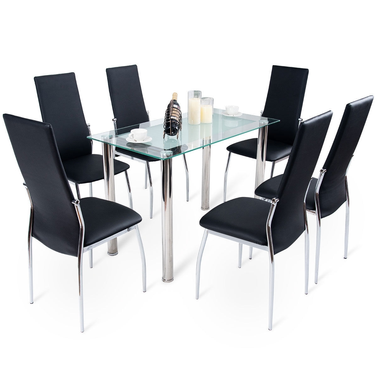 Black Glass Dining Tables With 6 Chairs Regarding Well Liked Costway: Costway Modern Glass Dining Table Set Tempered Glass Top (Gallery 23 of 25)