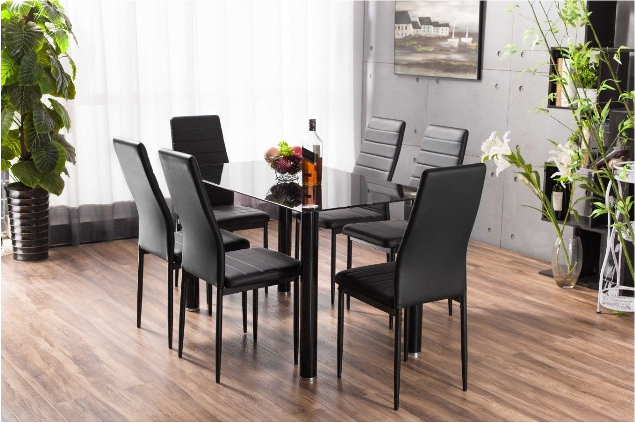 Black Glass Dining Tables With 6 Chairs Throughout Popular Excellently Black Glass Dining Table : Table – Dullkniferecords (View 9 of 25)