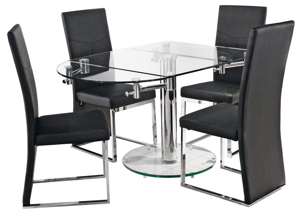 Black Glass Extending Dining Tables 6 Chairs Regarding Widely Used Oval Glass Extending Dining Table – With Easy Extending Mechanism (Gallery 25 of 25)