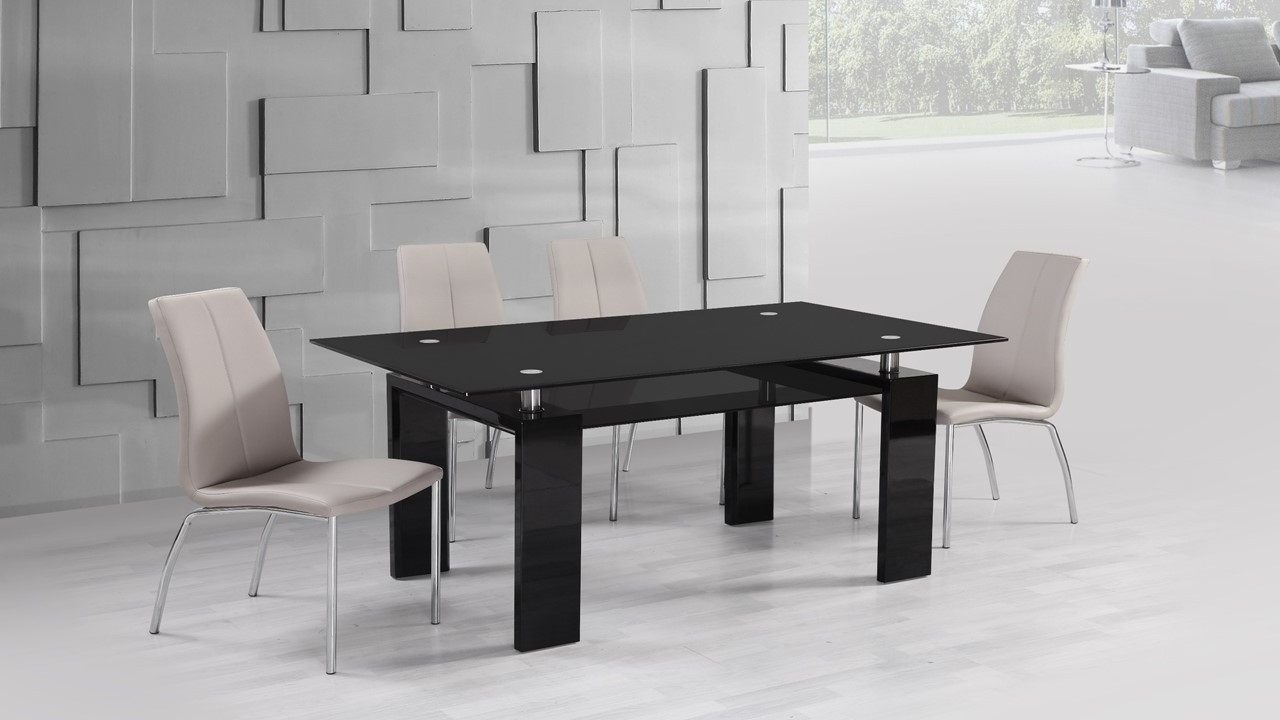 Black Glass High Gloss Dining Table And 6 Mink Grey Chairs Throughout 2017 Grey Gloss Dining Tables (View 10 of 25)