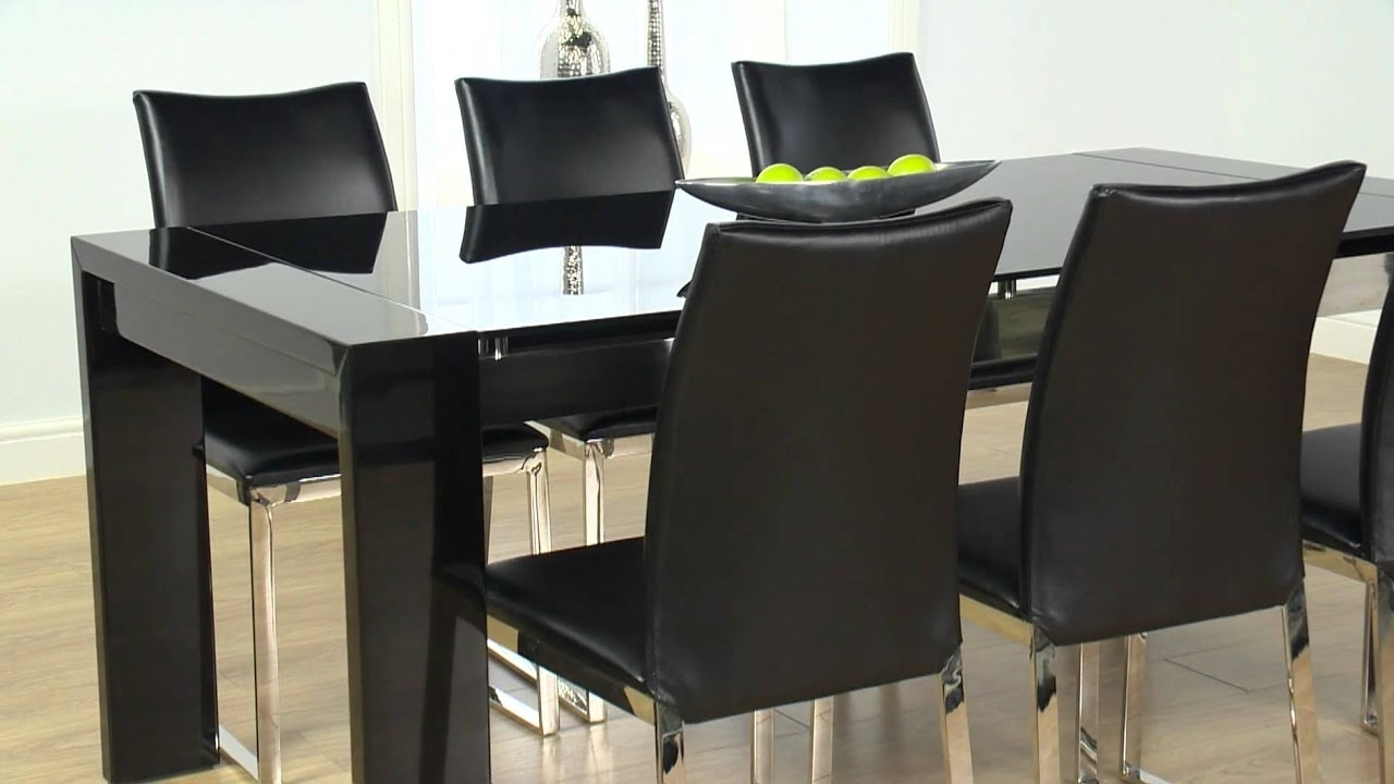 Black Gloss Dining Furniture Regarding Well Known Cannes Black High Gloss Dining Table And Cologne Chairs – Ofstv (Gallery 1 of 25)
