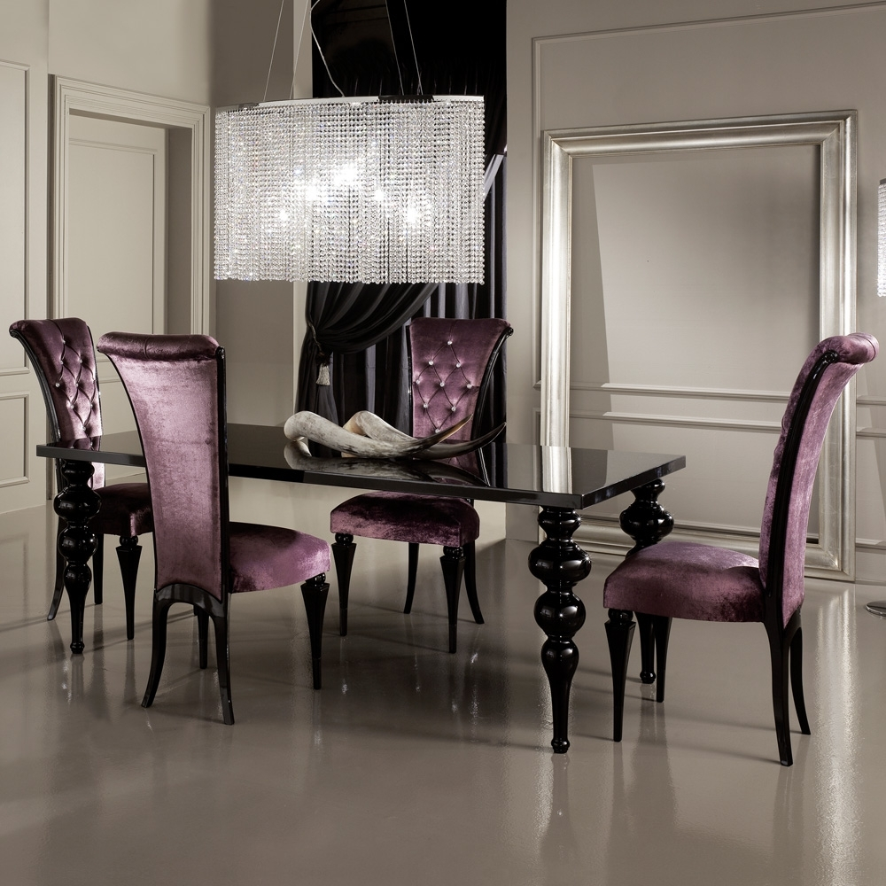 Black Gloss Dining Furniture Throughout Fashionable Contemporary Black High Gloss Designer Italian Dining Table Set (View 4 of 25)