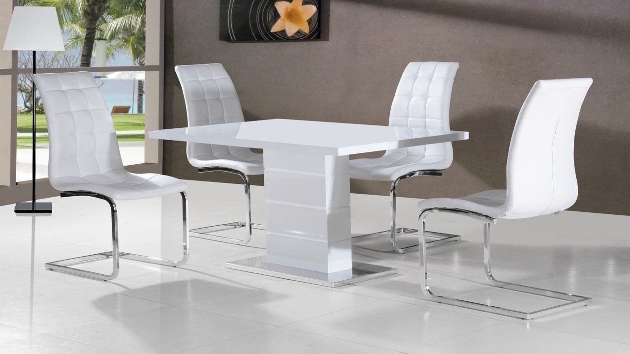 Black Gloss Dining Sets For Most Current Full White High Gloss Dining Table And 4 Chairs – Homegenies (View 4 of 25)