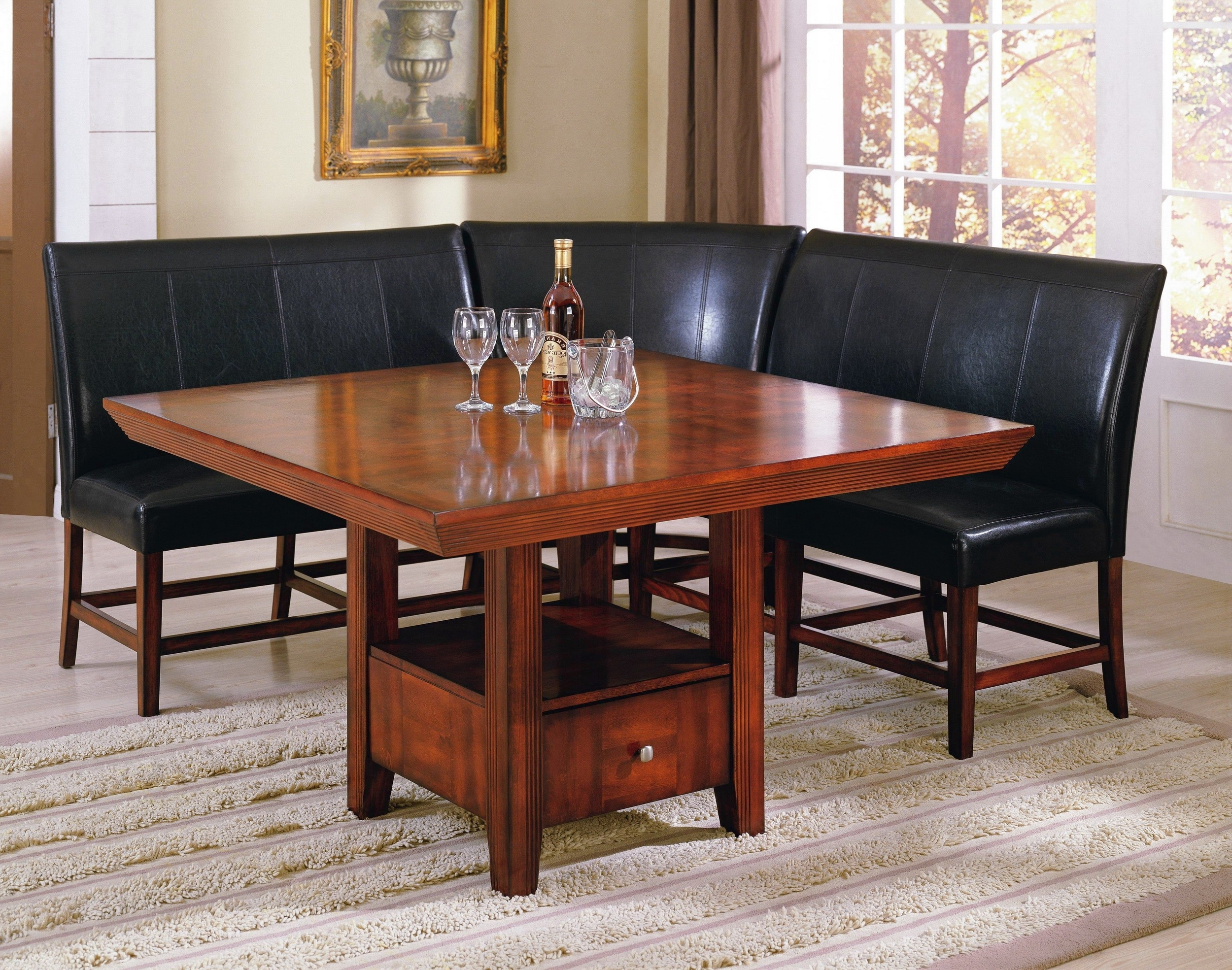 Black Leather L Shaped Bench With Back With Varnished Cherry Dining Regarding Current Bench With Back For Dining Tables (View 11 of 25)