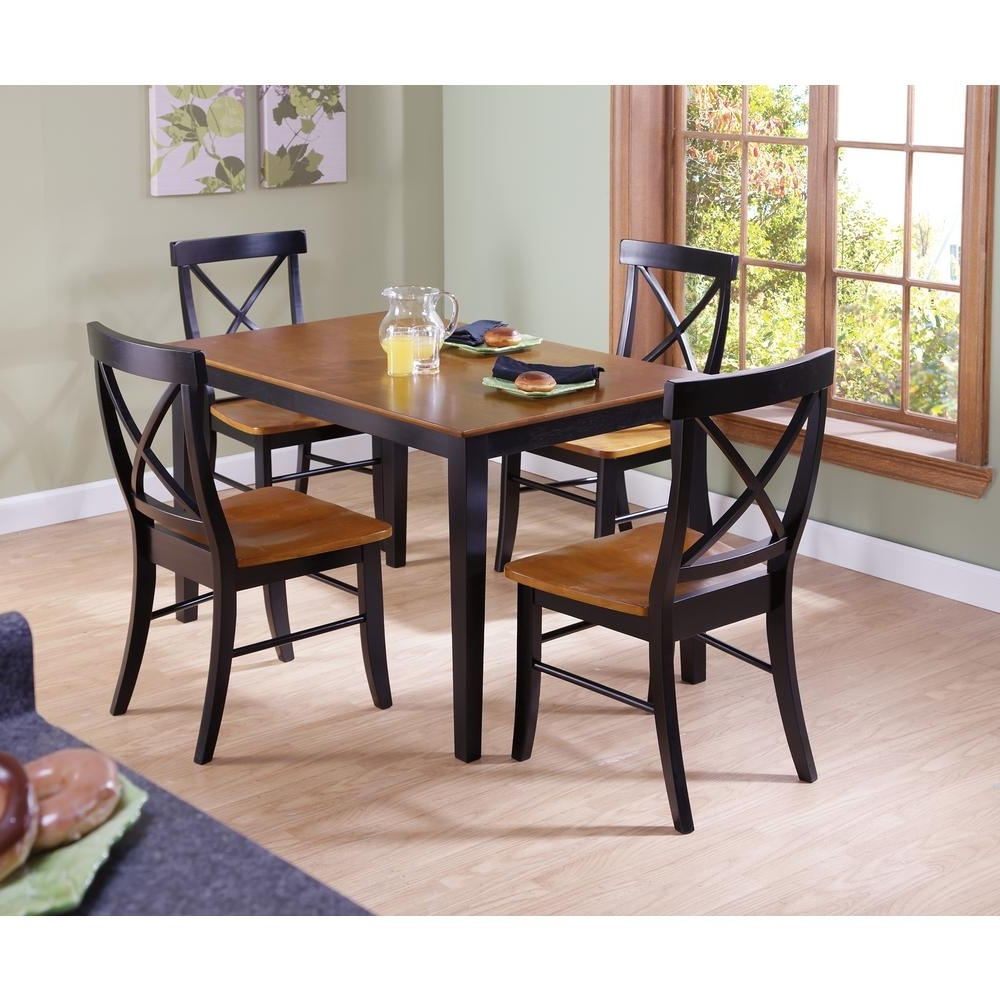Black Wood Dining Tables Sets For Recent International Concepts Dining Essentials 5 Piece Black And Cherry (View 4 of 25)