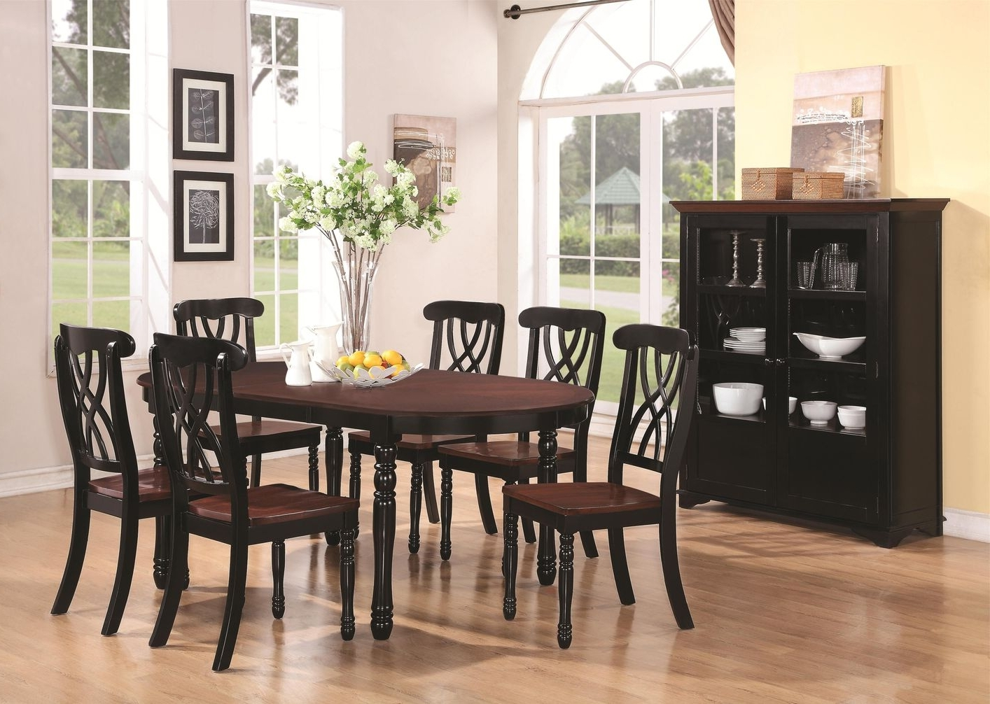 Black Wood Dining Tables Sets Within Most Recently Released Addison Black And Cherry Wood Dining Table – Steal A Sofa Furniture (View 9 of 25)