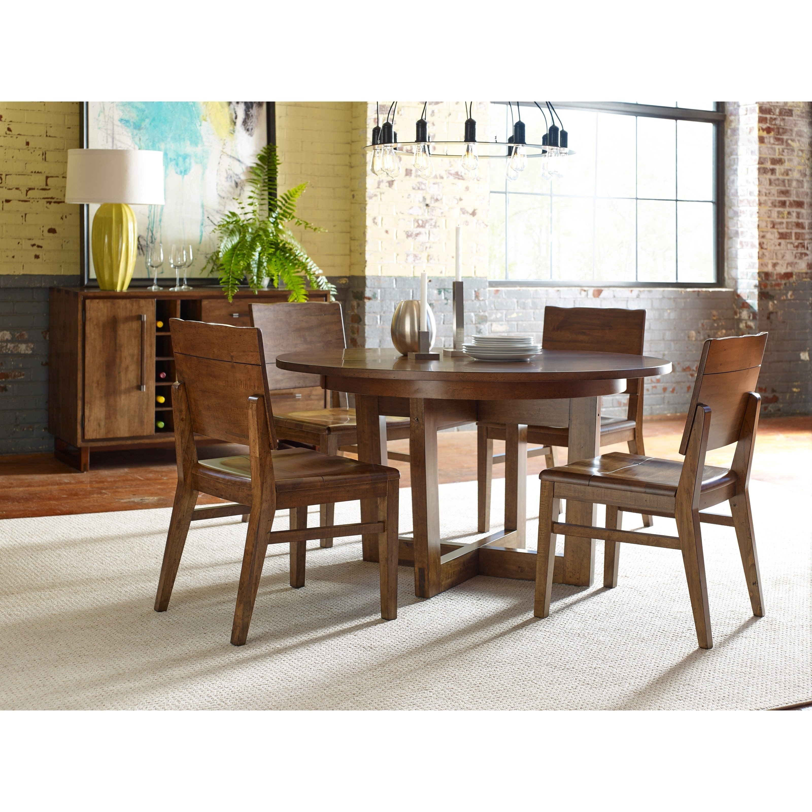 """Blacksmith Modern Craftsman 54"""" Round Dining Table With Extension Regarding Current Craftsman Round Dining Tables (View 2 of 25)"""