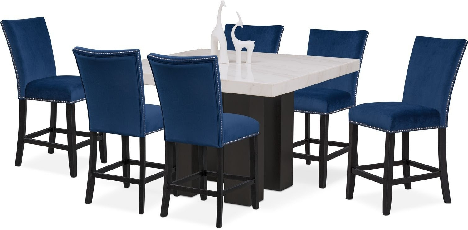 Blue Dining Tables With Regard To Most Popular Artemis Counter Height Dining Table And 6 Upholstered Stools – Blue (View 22 of 25)