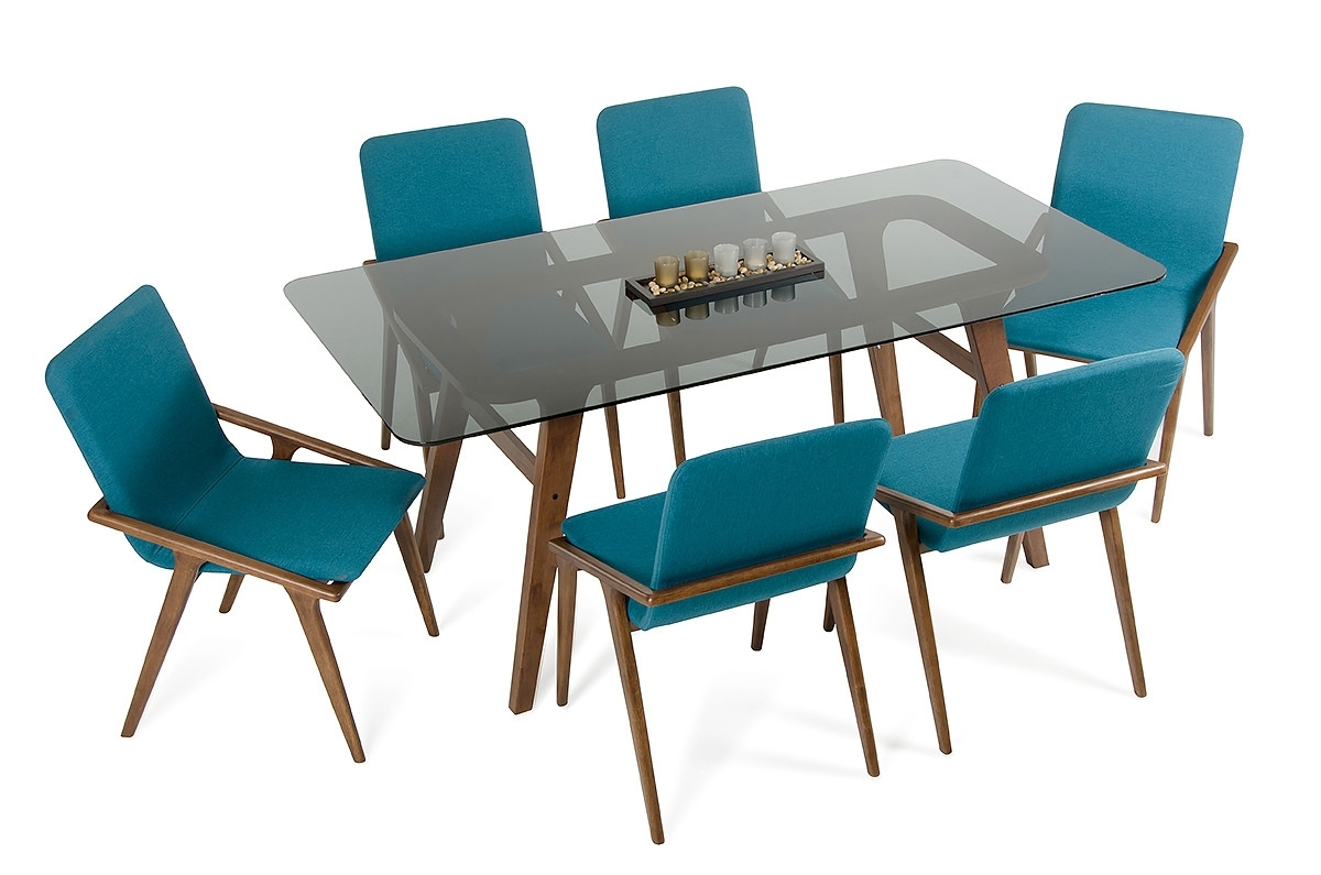 Blue Glass Dining Tables Inside Most Recent Modrest Zeppelin Mid Century Smoked Glass Dining Table (Gallery 23 of 25)