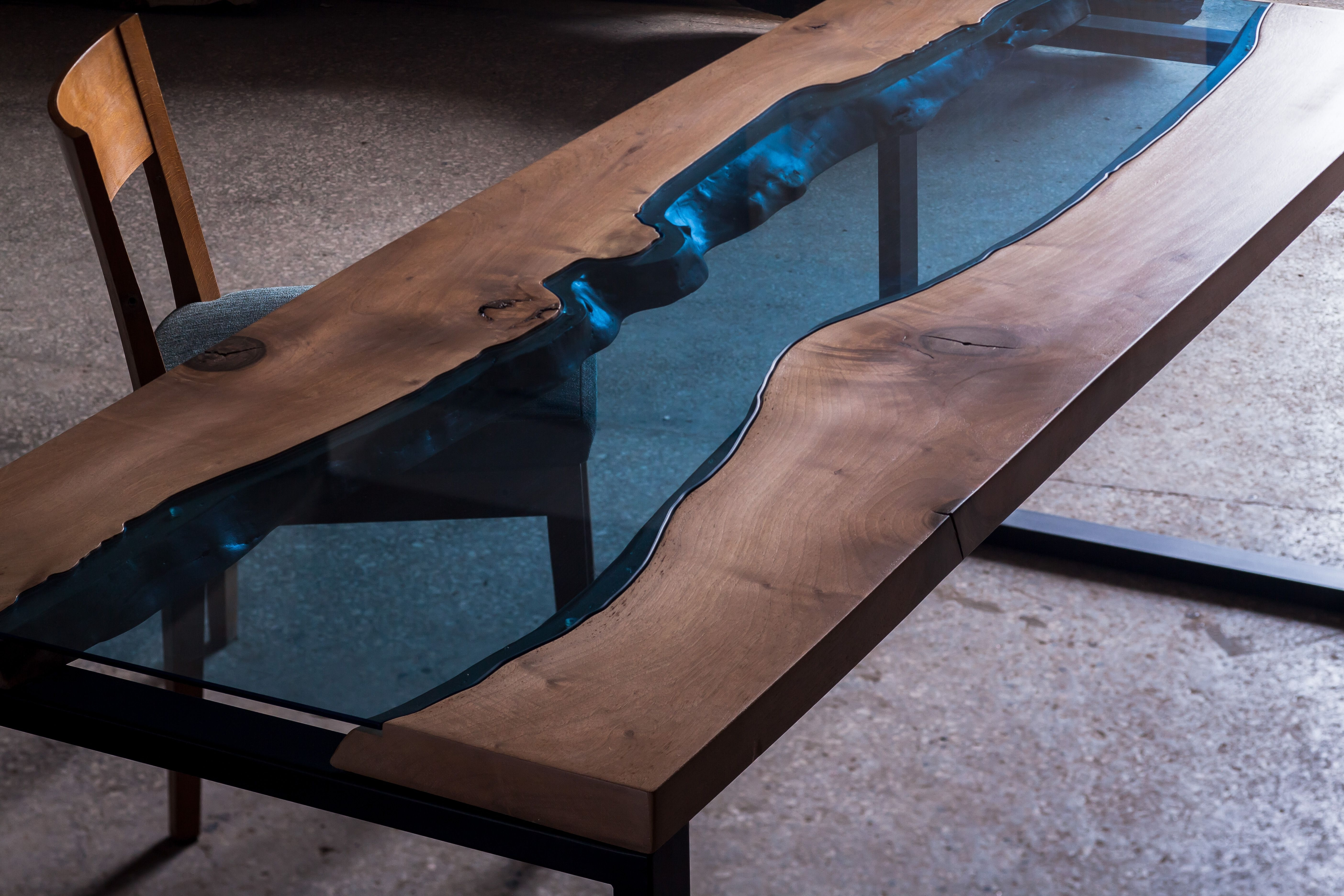 Blue Glass Dining Tables Intended For Widely Used Aqua Dining Table, Made From Walnut Tree And Blue Glass. Available (Gallery 20 of 25)