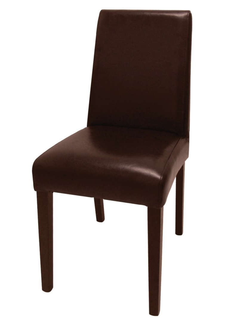 Bolero Faux Leather Dining Chairs Dark Brown (Pack Of With Regard To Trendy Dark Brown Leather Dining Chairs (View 22 of 25)