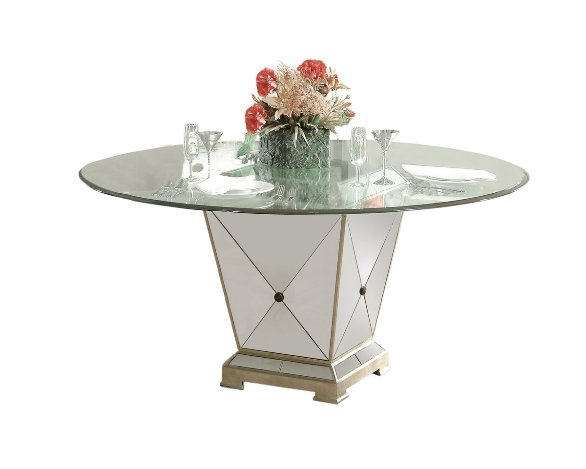 Borghese Round Dining Table (Antique Mirror & Silver Leaf Finish In Newest Mirror Glass Dining Tables (View 2 of 25)