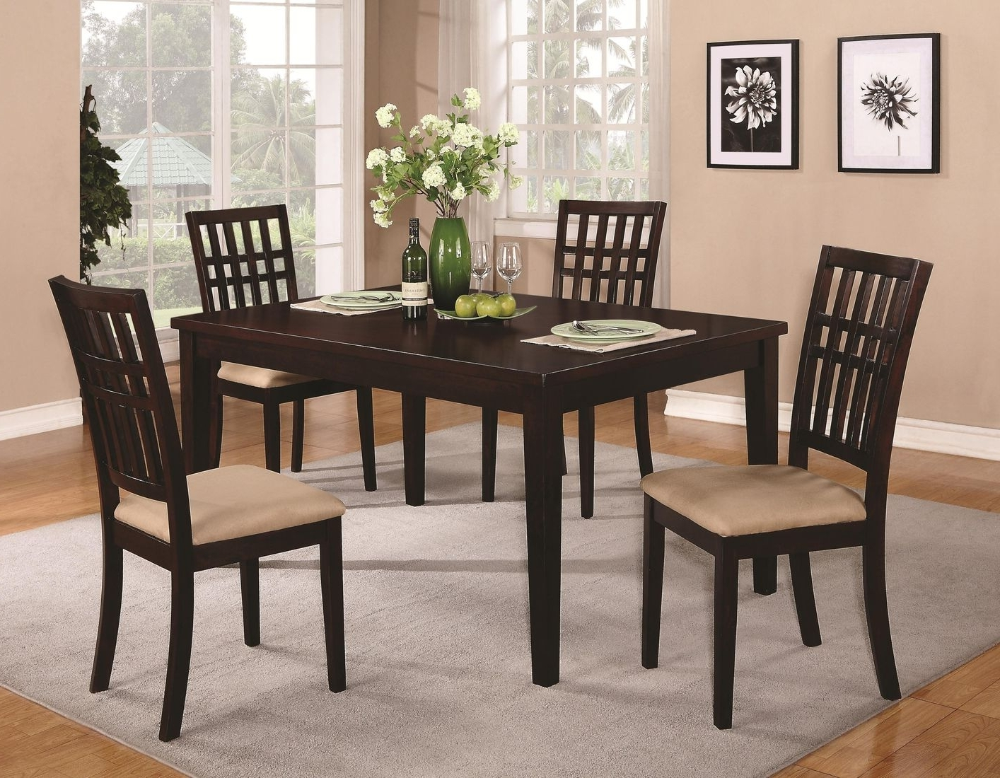Brandt Dark Cherry Wood Dining Table – Steal A Sofa Furniture Outlet In Latest Dark Wood Dining Room Furniture (Gallery 1 of 25)