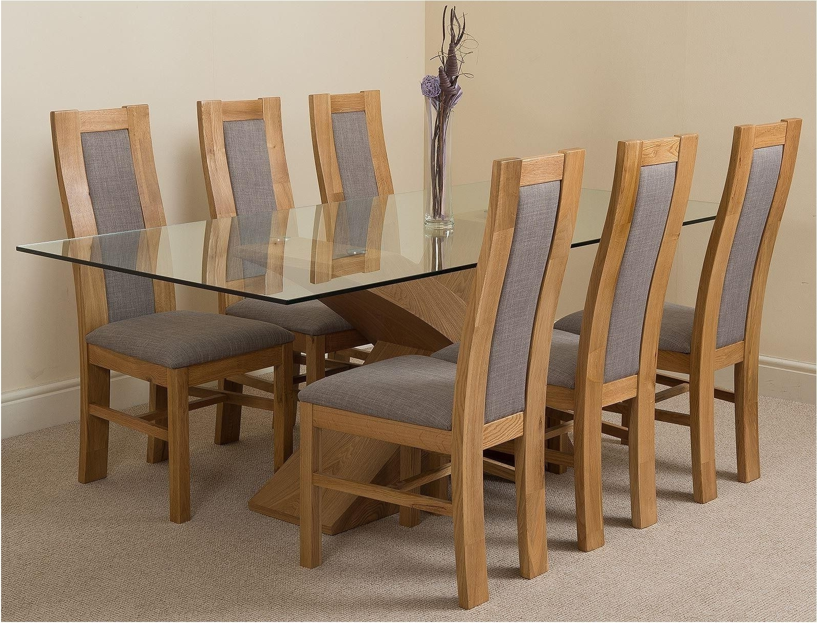 Breathtaking Extending Oak Dining Table With 4 Chairs Flintshire With 2017 Glass Oak Dining Tables (View 2 of 25)